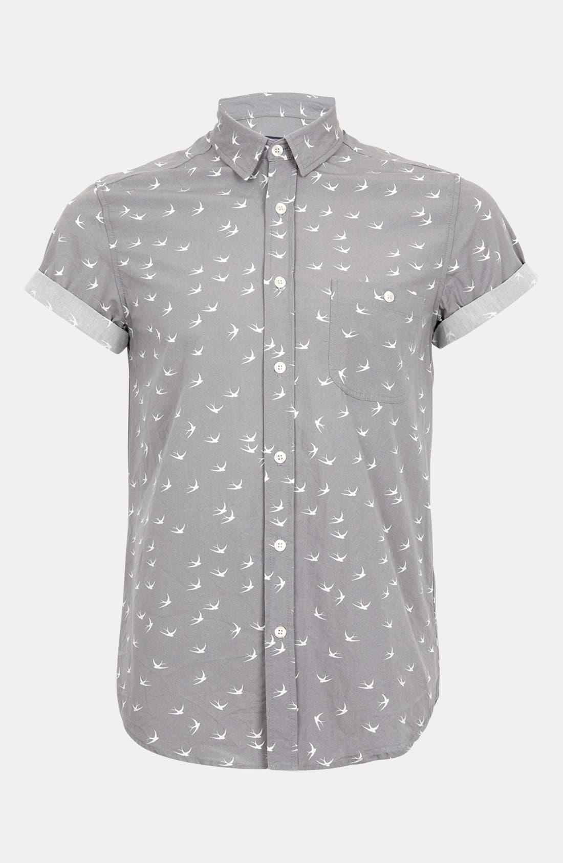 Main Image - Topman 'High Roller' Swallow Print Shirt