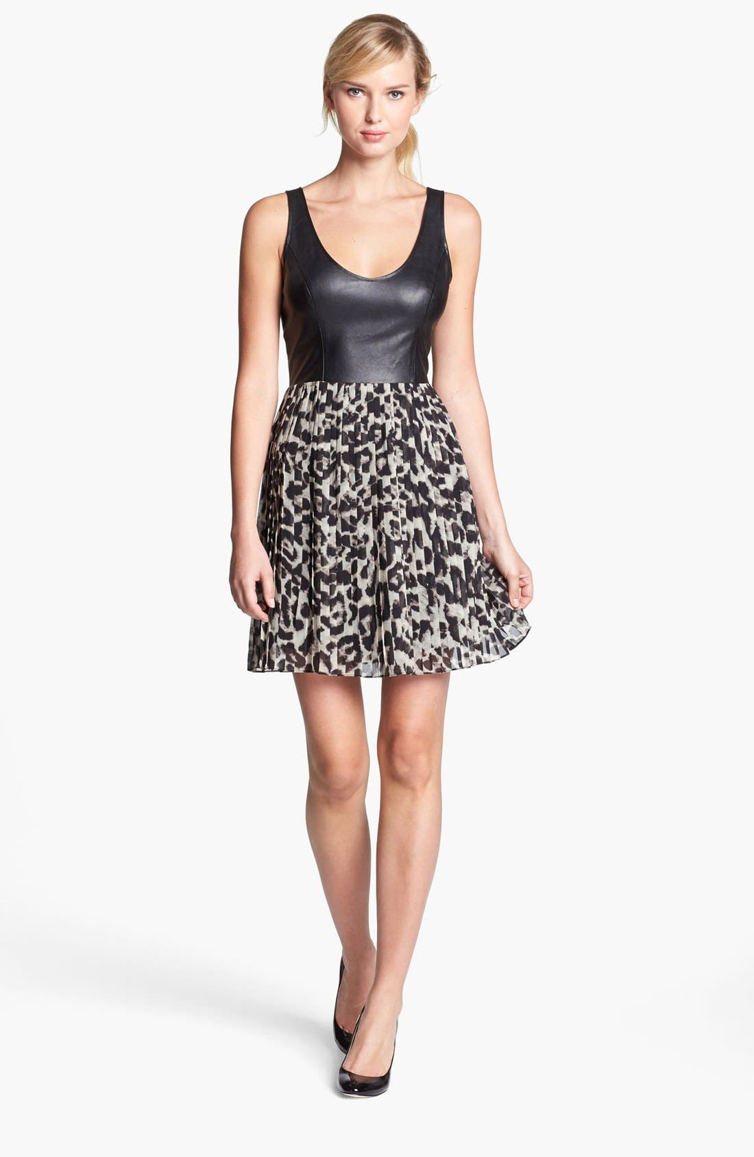 Main Image - BB Dakota Faux Leather Bodice & Animal Print Skirt Dress (Online Only)