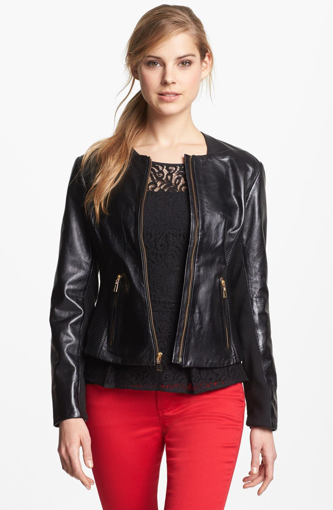 Alternate Image 1 Selected - Via Spiga Ribbed Side Leather Jacket (Regular & Petite) (Online Only)