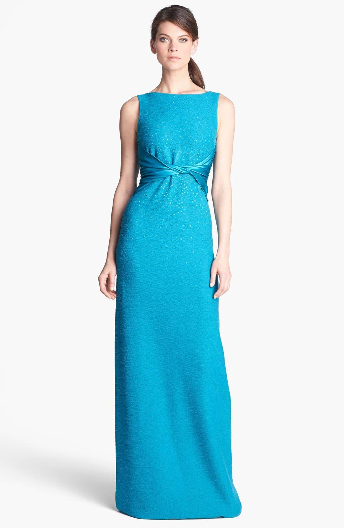 Main Image - St. John Collection Sequin Accent Bouclé Knit Gown