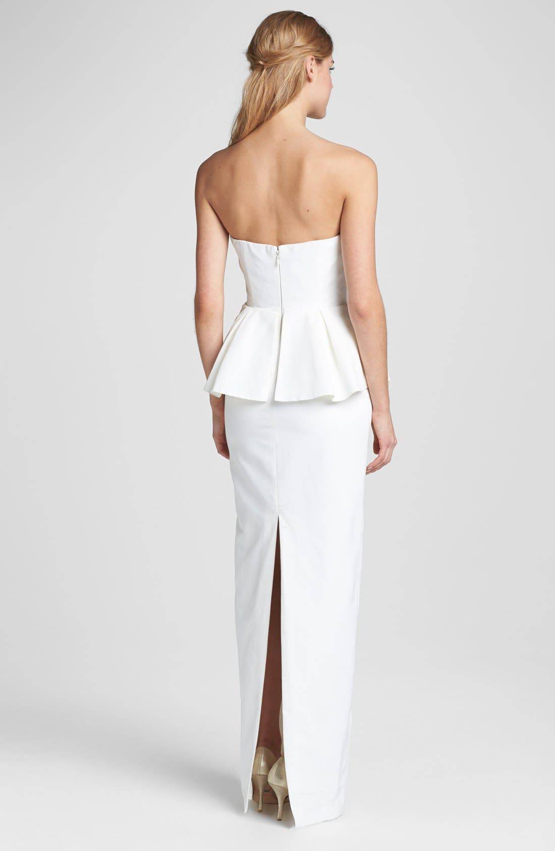 Alternate Image 2  - Nicole Miller Strapless Peplum Gown