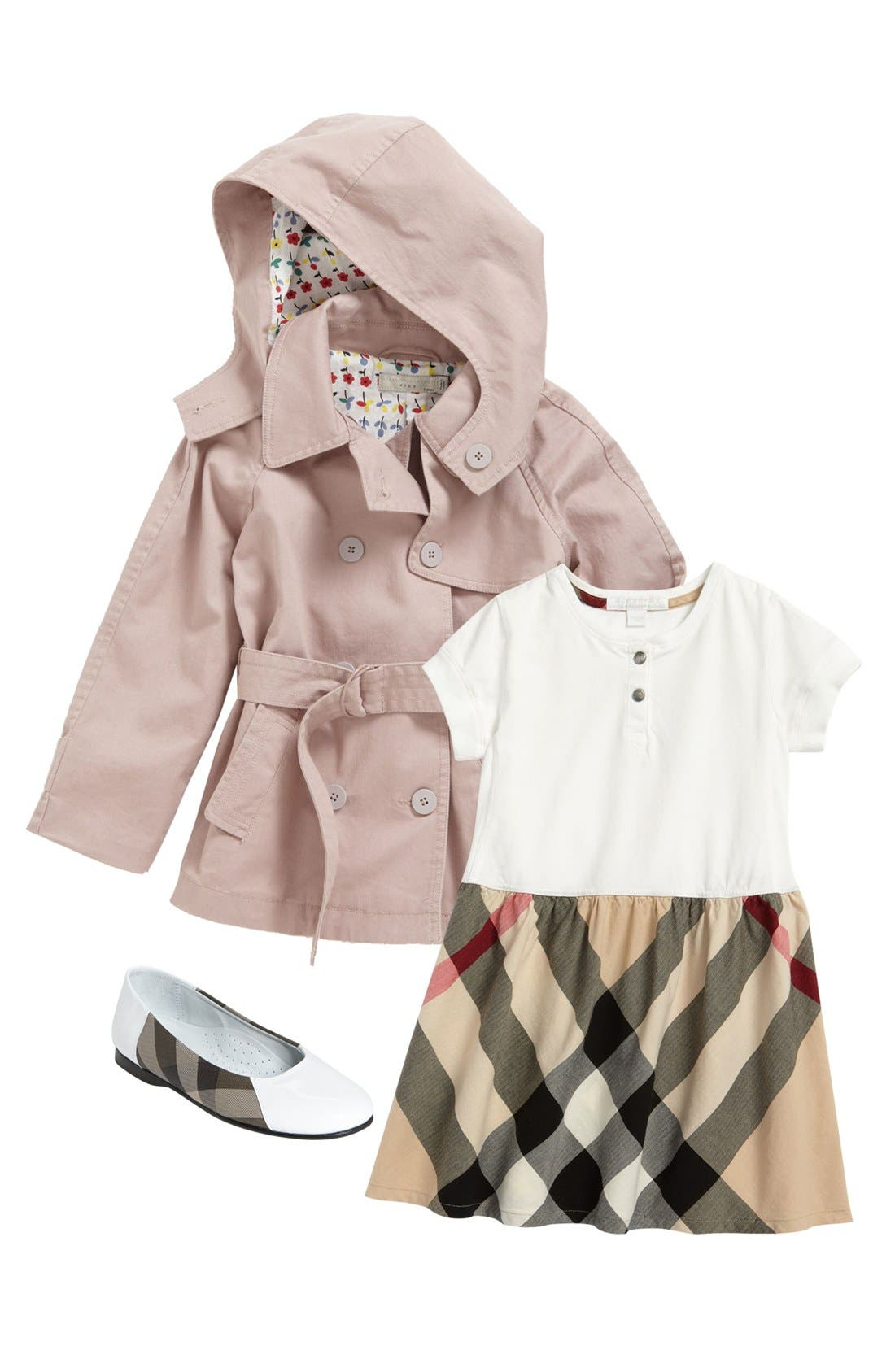 Alternate Image 1 Selected - Burberry Dress & Stella McCartney Trench Coat (Toddler)