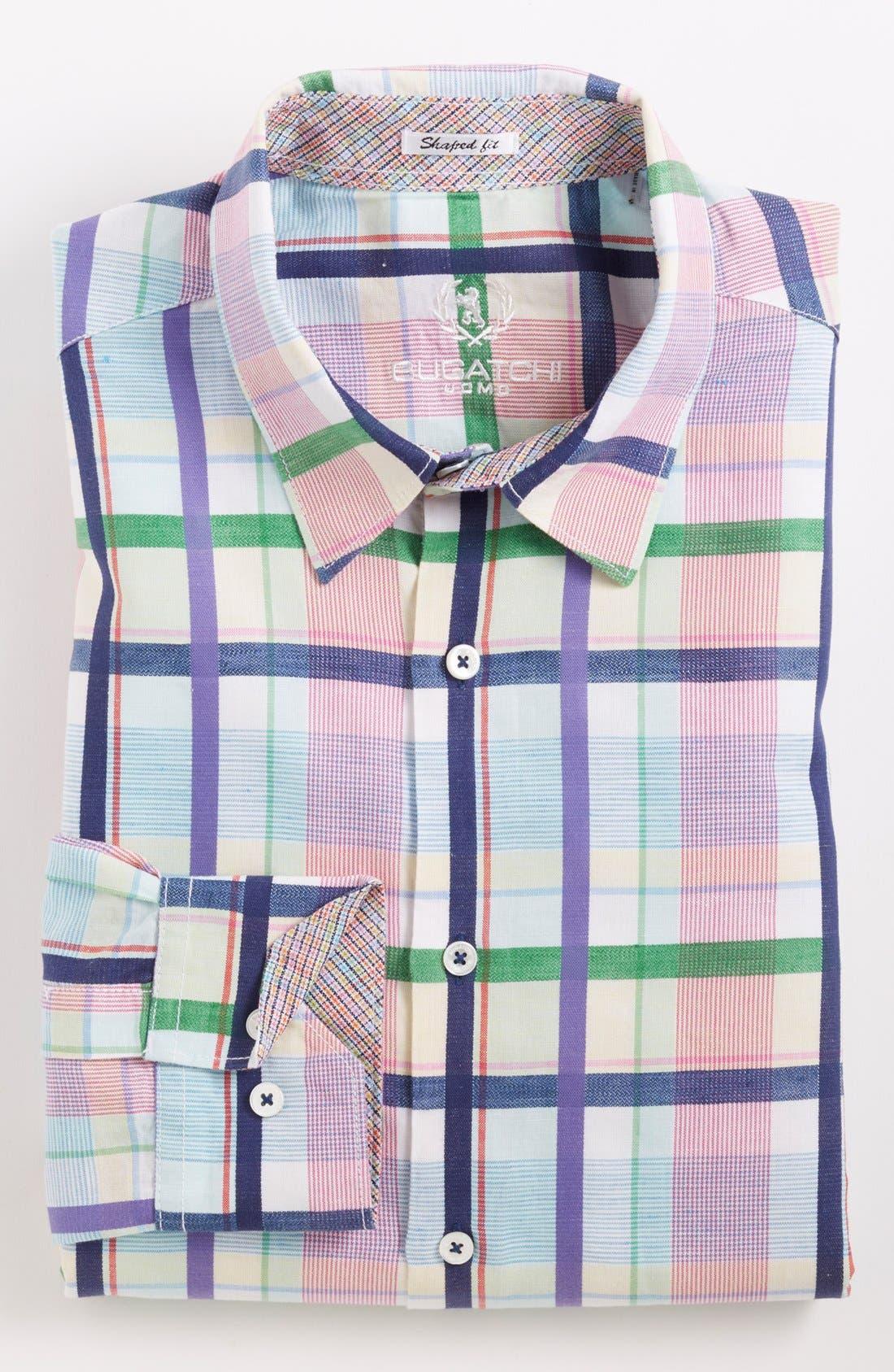 Alternate Image 2  - Bugatchi Check Shaped Fit Linen Blend Sport Shirt