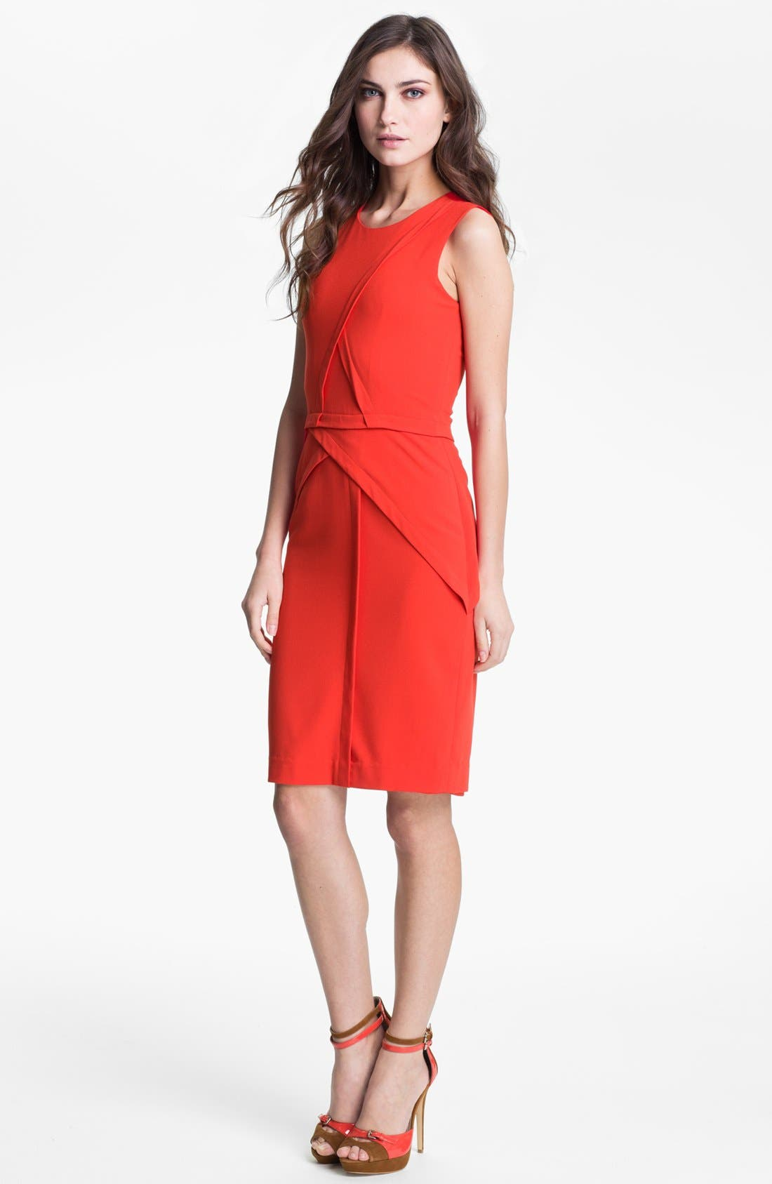 Main Image - BCBGMAXAZRIA Seam Detail Sleeveless Sheath (Petite)