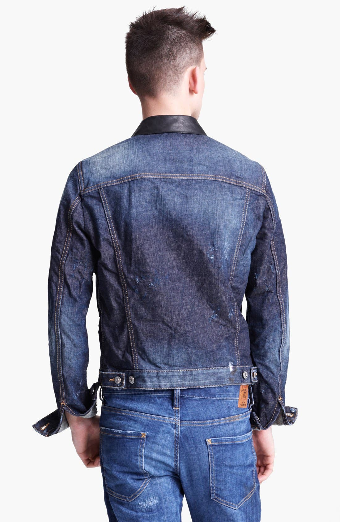 Alternate Image 2  - Dsquared2 Denim Jacket with Leather Trim