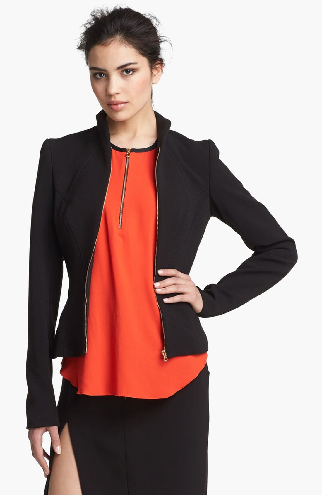 Alternate Image 1 Selected - L'AGENCE Zip Sleeve Ponte Knit Jacket
