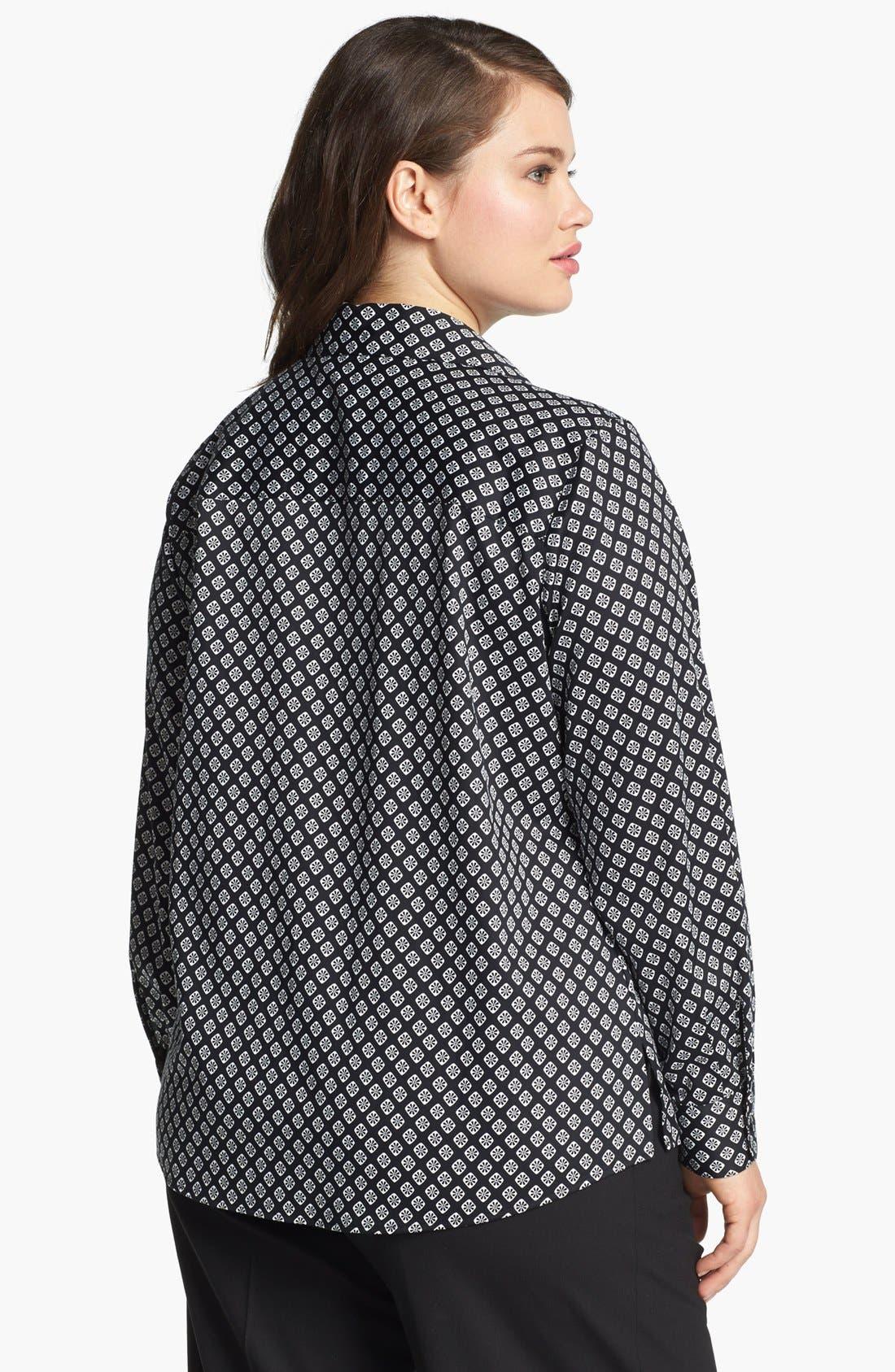 Alternate Image 2  - Foxcroft Foulard Print Shirt (Plus Size)