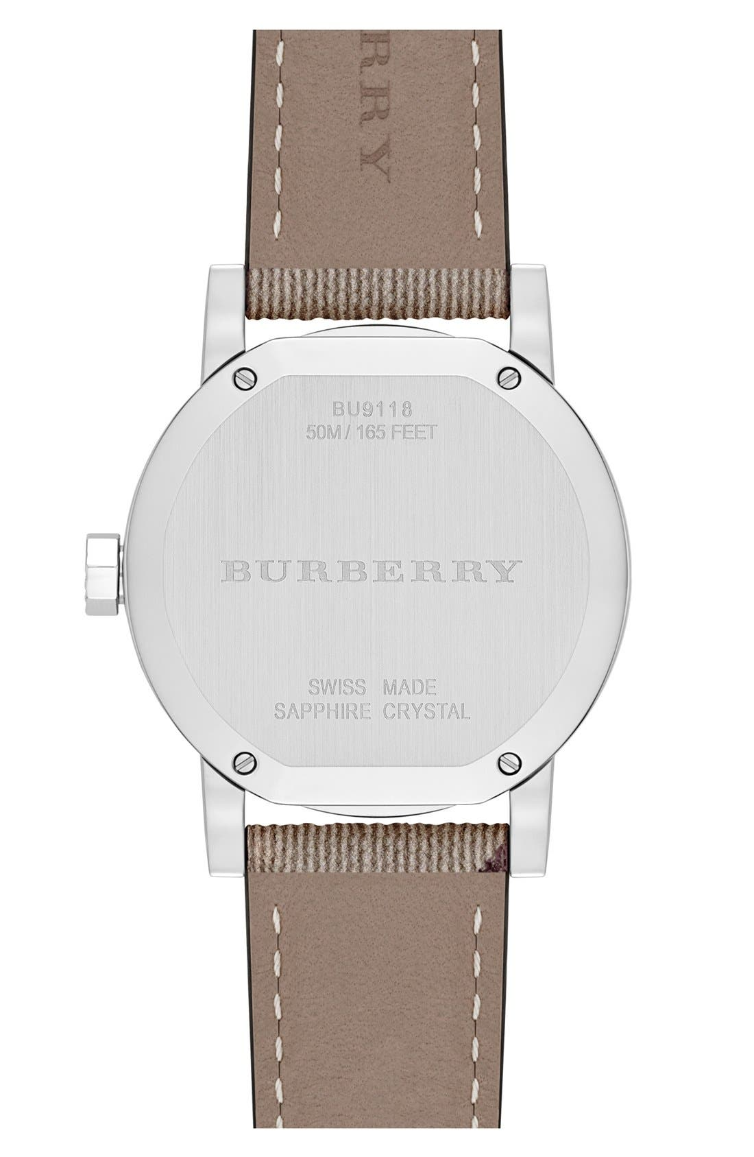 Alternate Image 3  - Burberry Smoke Check Strap Watch, 34mm