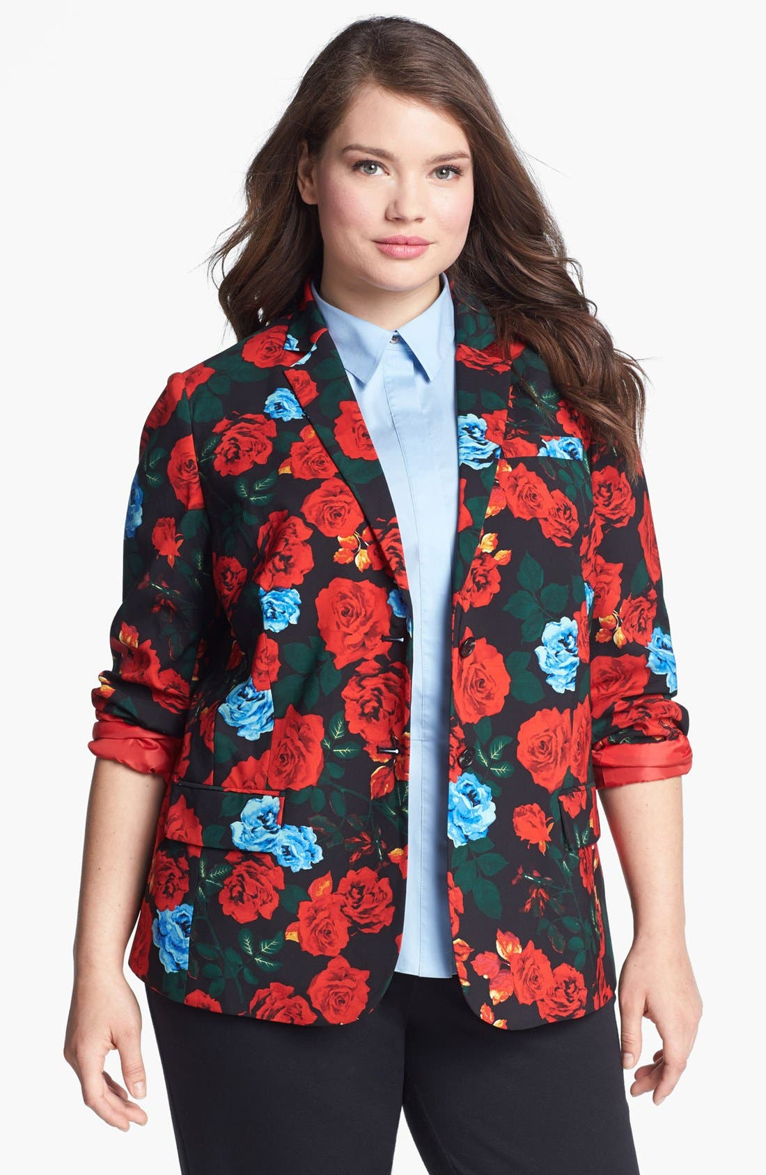 Alternate Image 1 Selected - Vince Camuto Rose Print Blazer (Plus Size)