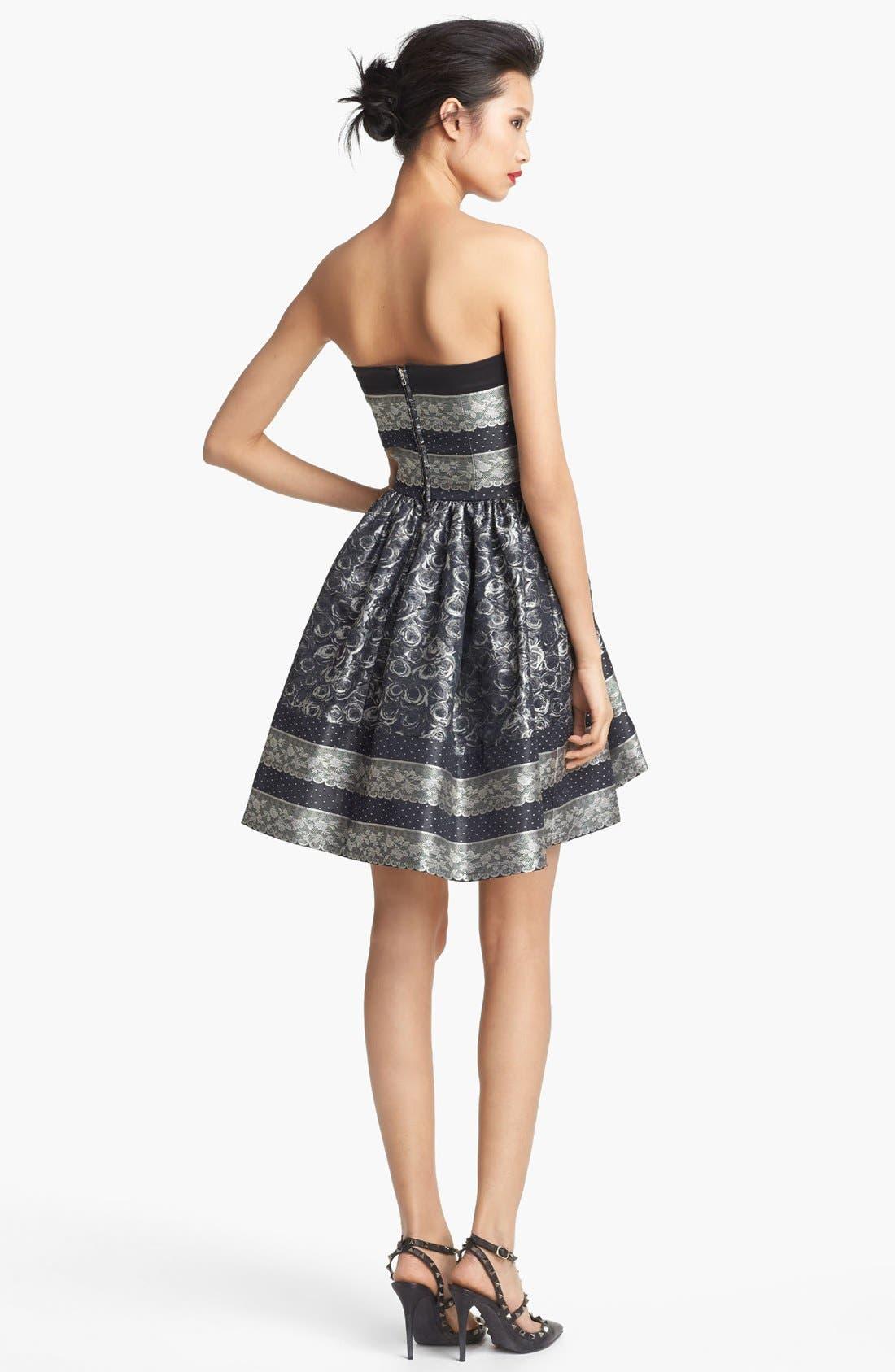 Alternate Image 2  - RED Valentino Strapless Full Skirt Jacquard Dress