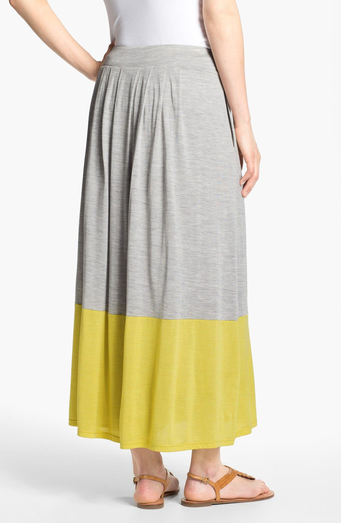 Alternate Image 2  - Eileen Fisher Pleated Colorblock Midi Skirt (Plus Size)