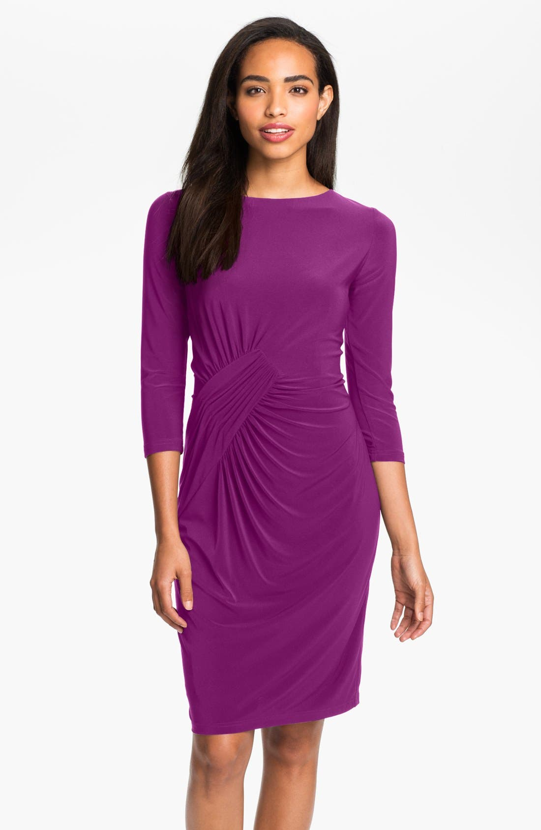 Alternate Image 1 Selected - Adrianna Papell Asymmetrically Ruched Jersey Dress (Petite)