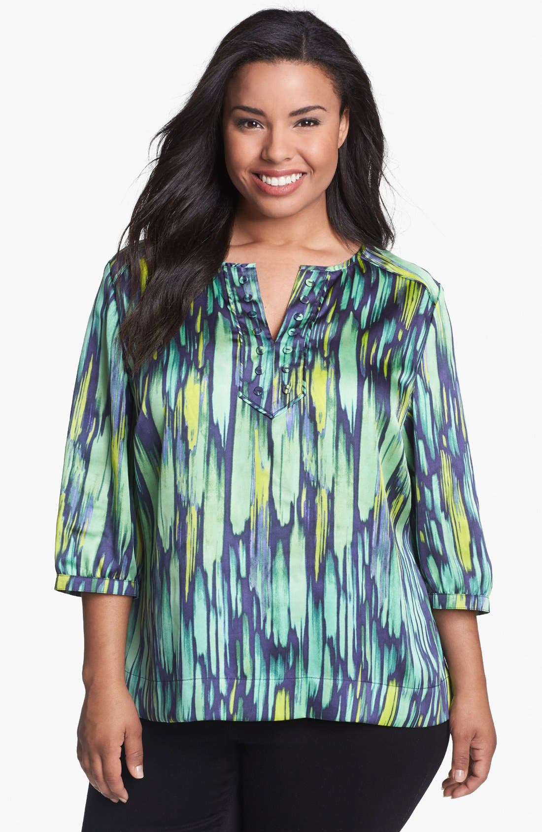 Alternate Image 1 Selected - Sejour Print Satin Top (Plus Size)