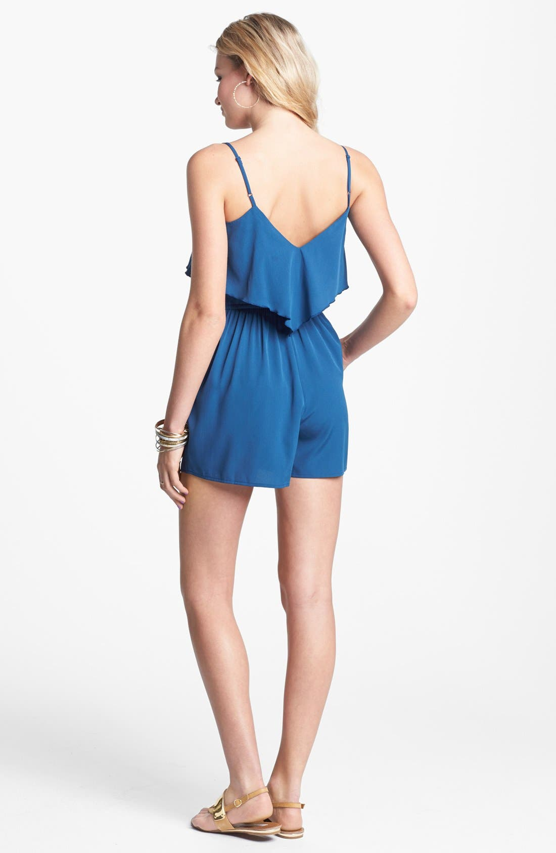 Alternate Image 2  - Band of Gypsies Ruffle Romper (Juniors) (Online Only)