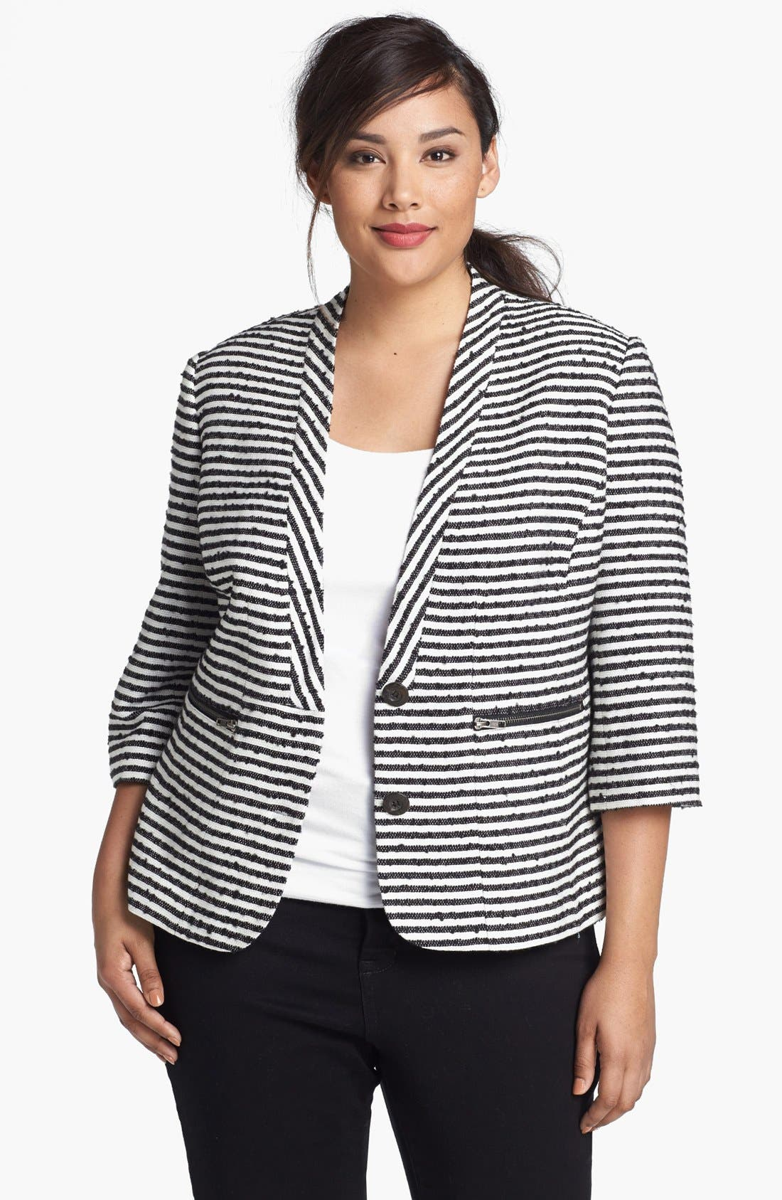 Main Image - Sejour 'Barre' Tweed Jacket (Plus Size)