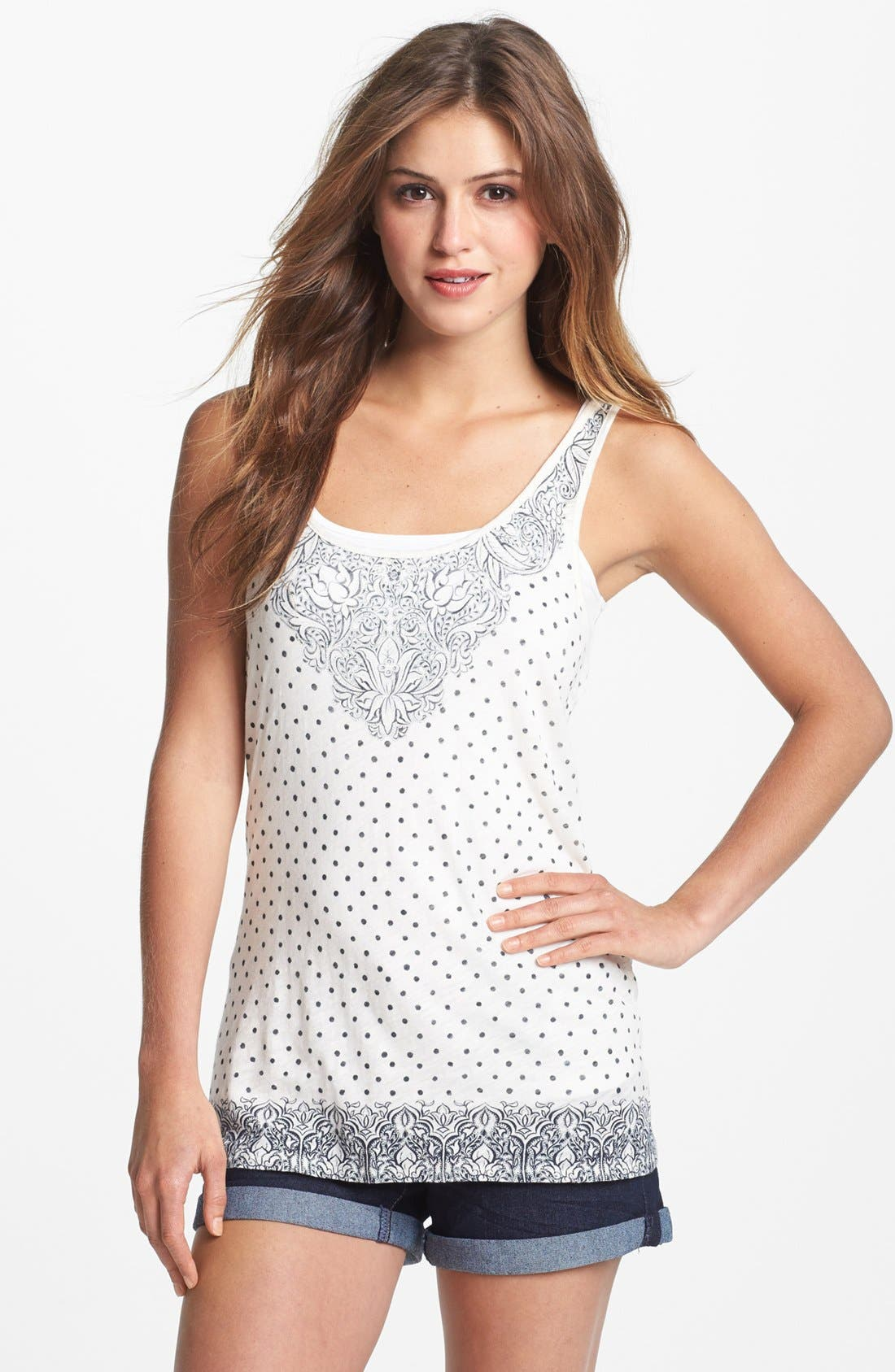 Alternate Image 1 Selected - Lucky Brand Floral Dot Tank