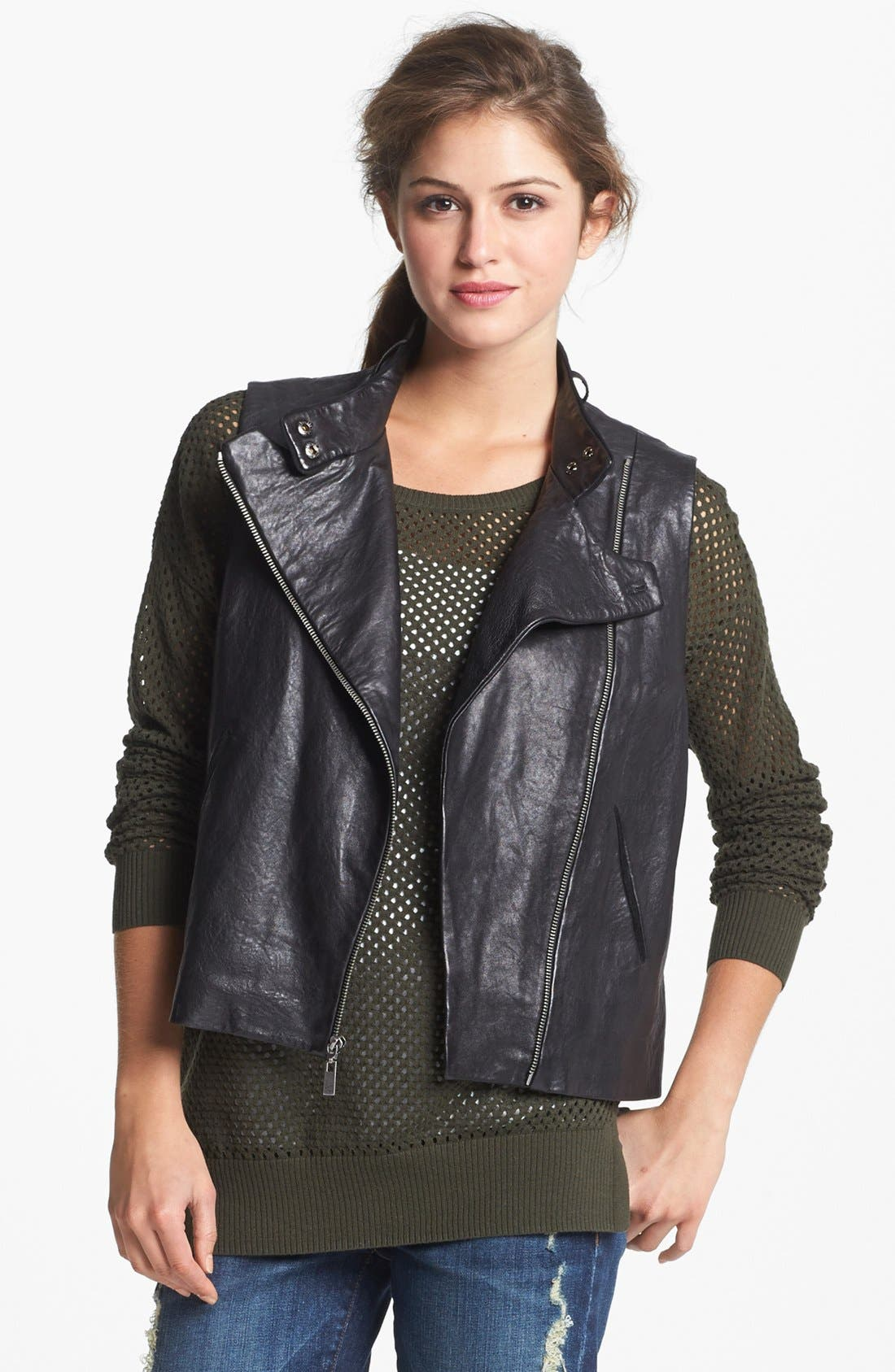 Alternate Image 2  - Two by Vince Camuto Back Zip Faux Leather Moto Vest