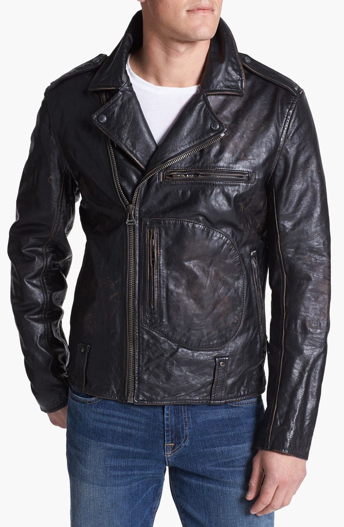Alternate Image 1 Selected - Denim & Leathers by Andrew Marc Leather Moto Jacket