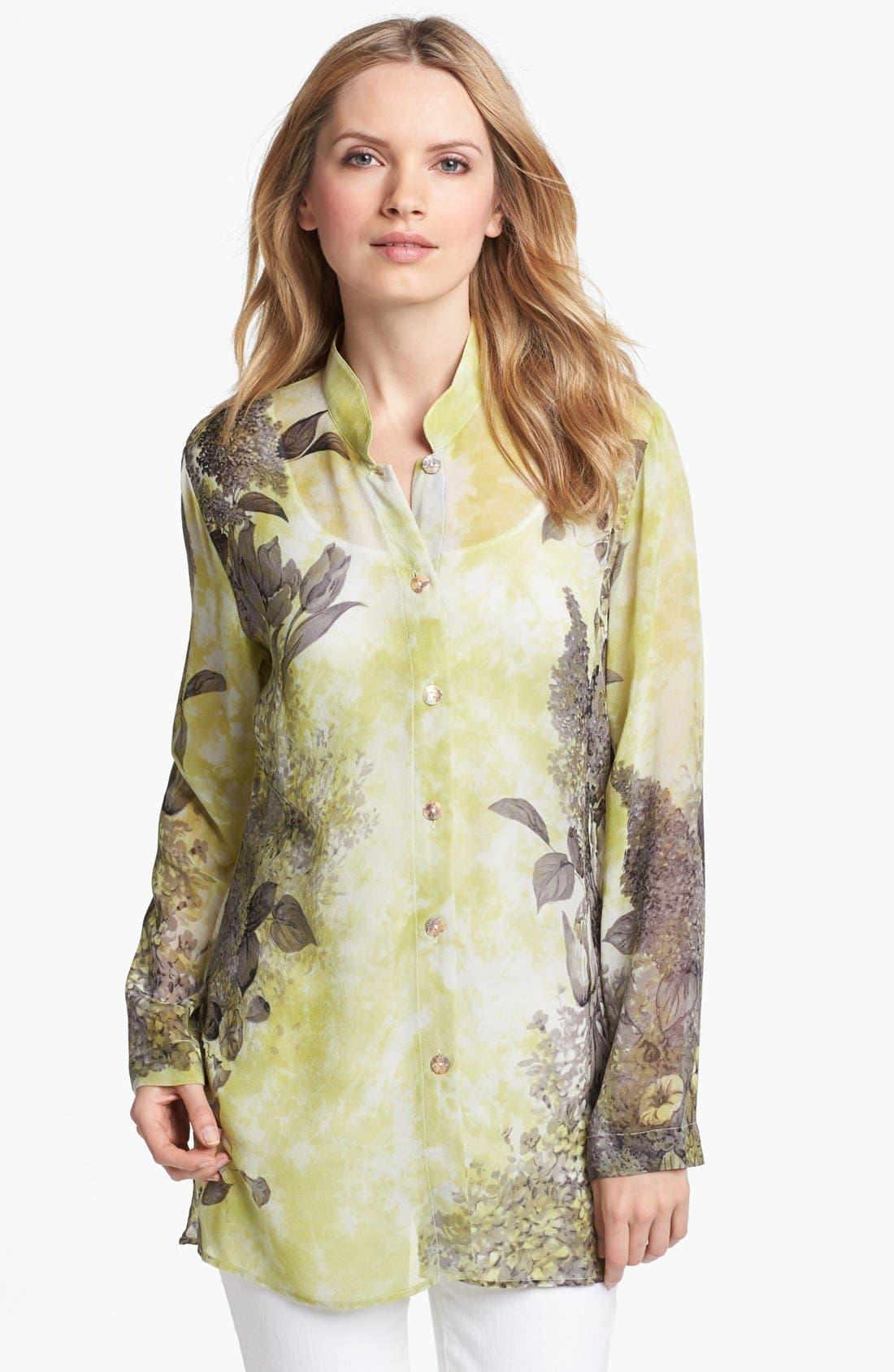 Main Image - Citron Mandarin Collar Silk Blouse with Tank