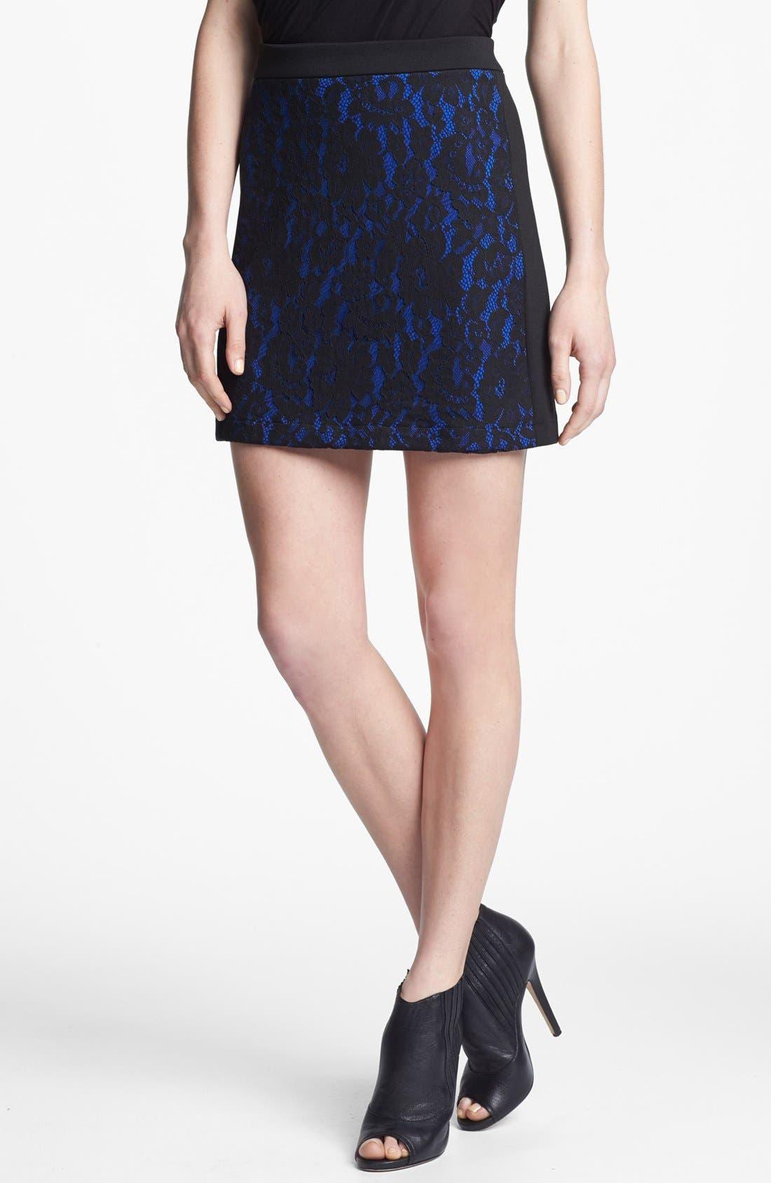 Main Image - Robbi & Nikki Lace Panel Miniskirt