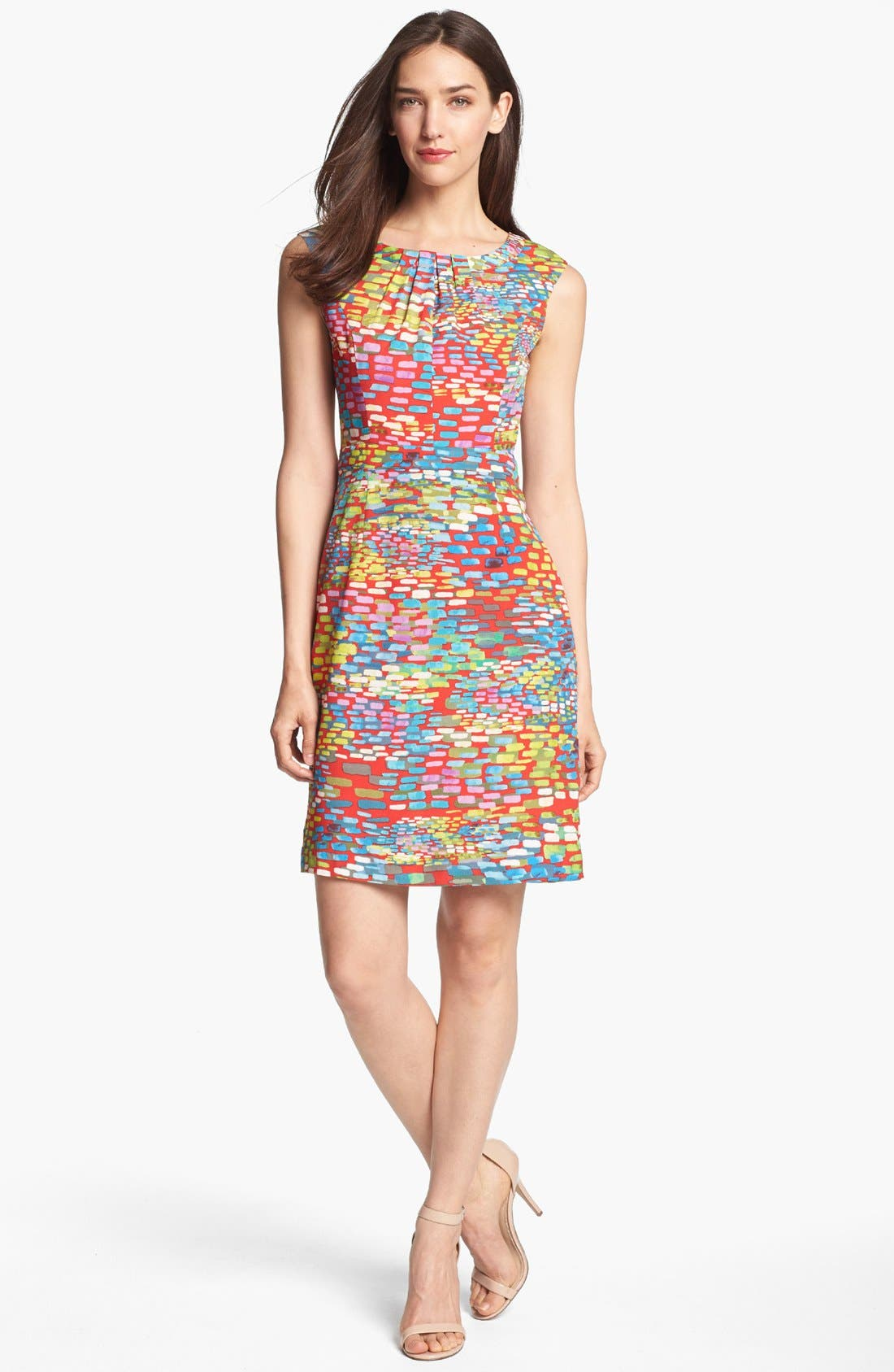 Main Image - Ellen Tracy Cap Sleeve Print Sheath Dress