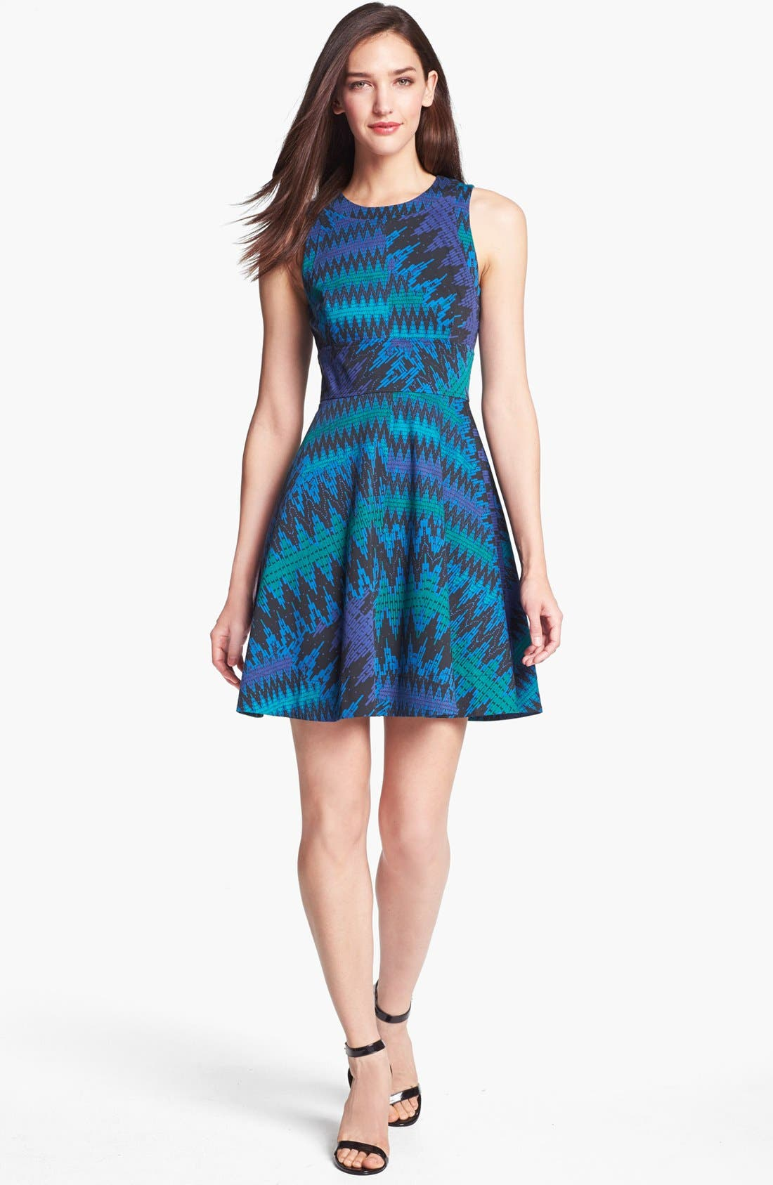 Alternate Image 1 Selected - French Connection Zigzag Print Fit & Flare Dress