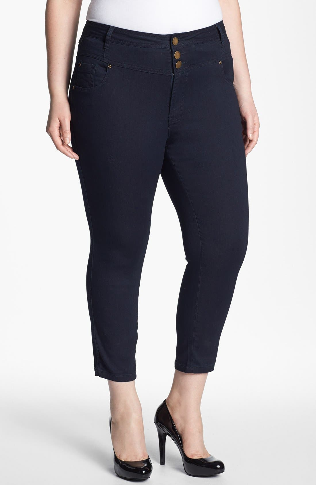 Alternate Image 1 Selected - Evans High Waist Slim Ankle Jeans (Plus Size)