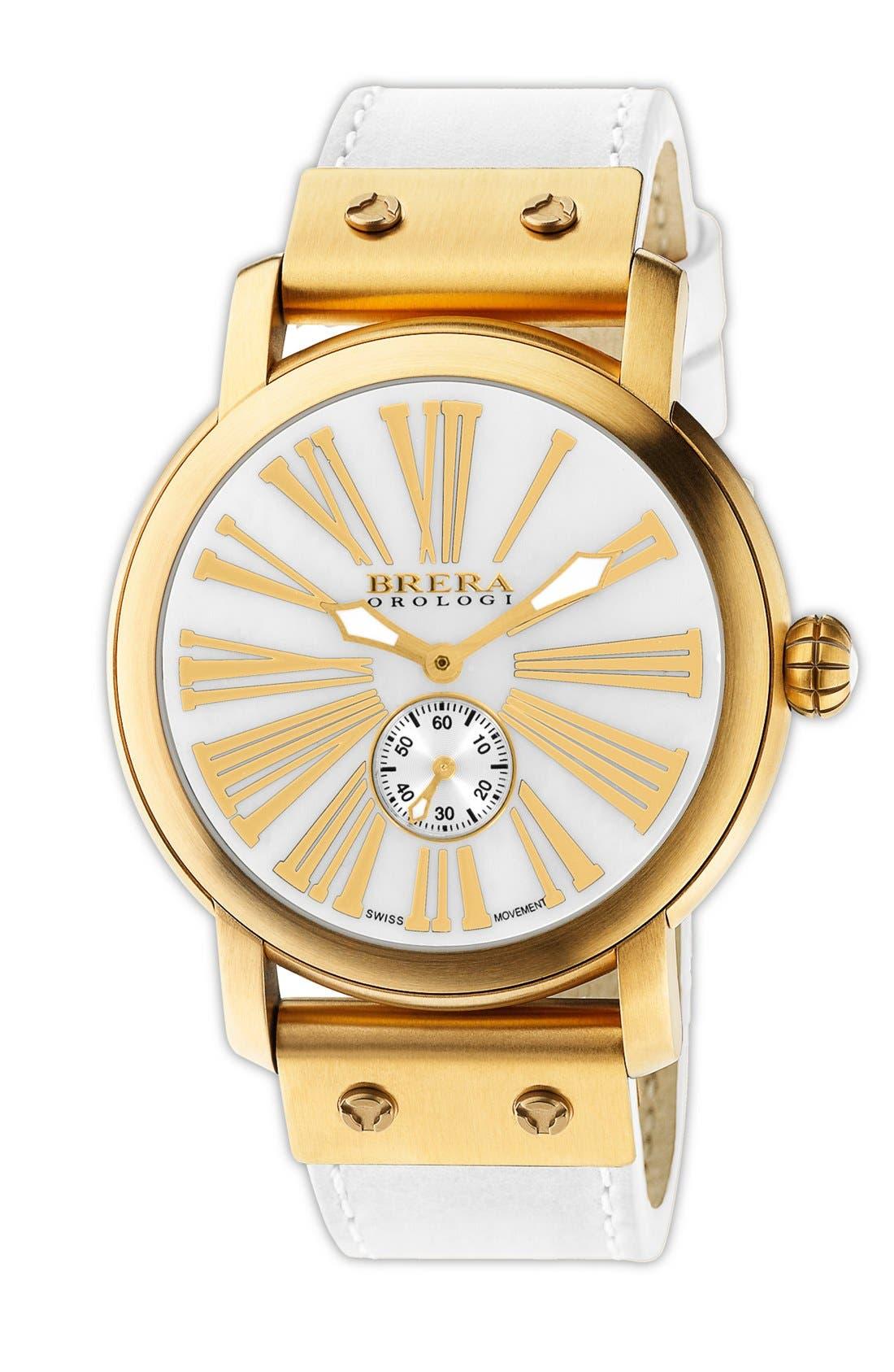Main Image - Brera 'Valentina' Round Leather Strap Watch, 42mm