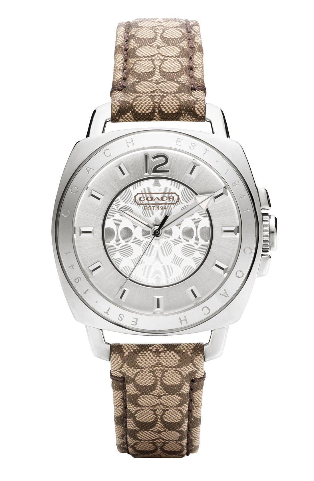 Main Image - COACH 'Boyfriend' Signature Strap Watch, 35mm