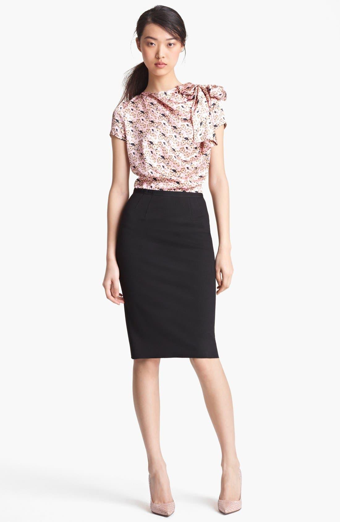 Main Image - Nina Ricci Floral Print & Jersey Dress