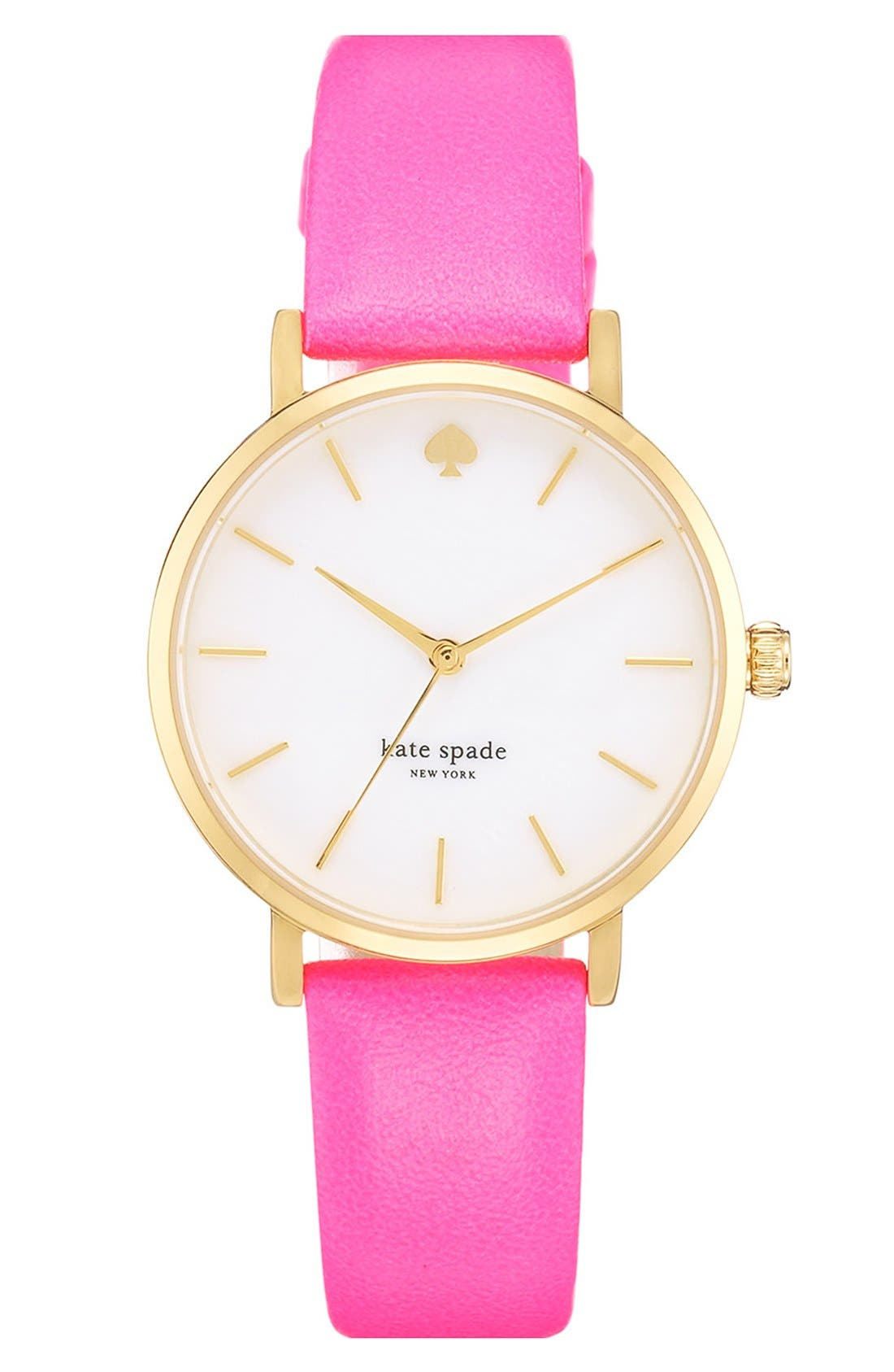 Alternate Image 1 Selected - kate spade new york 'metro' round leather strap watch, 34mm