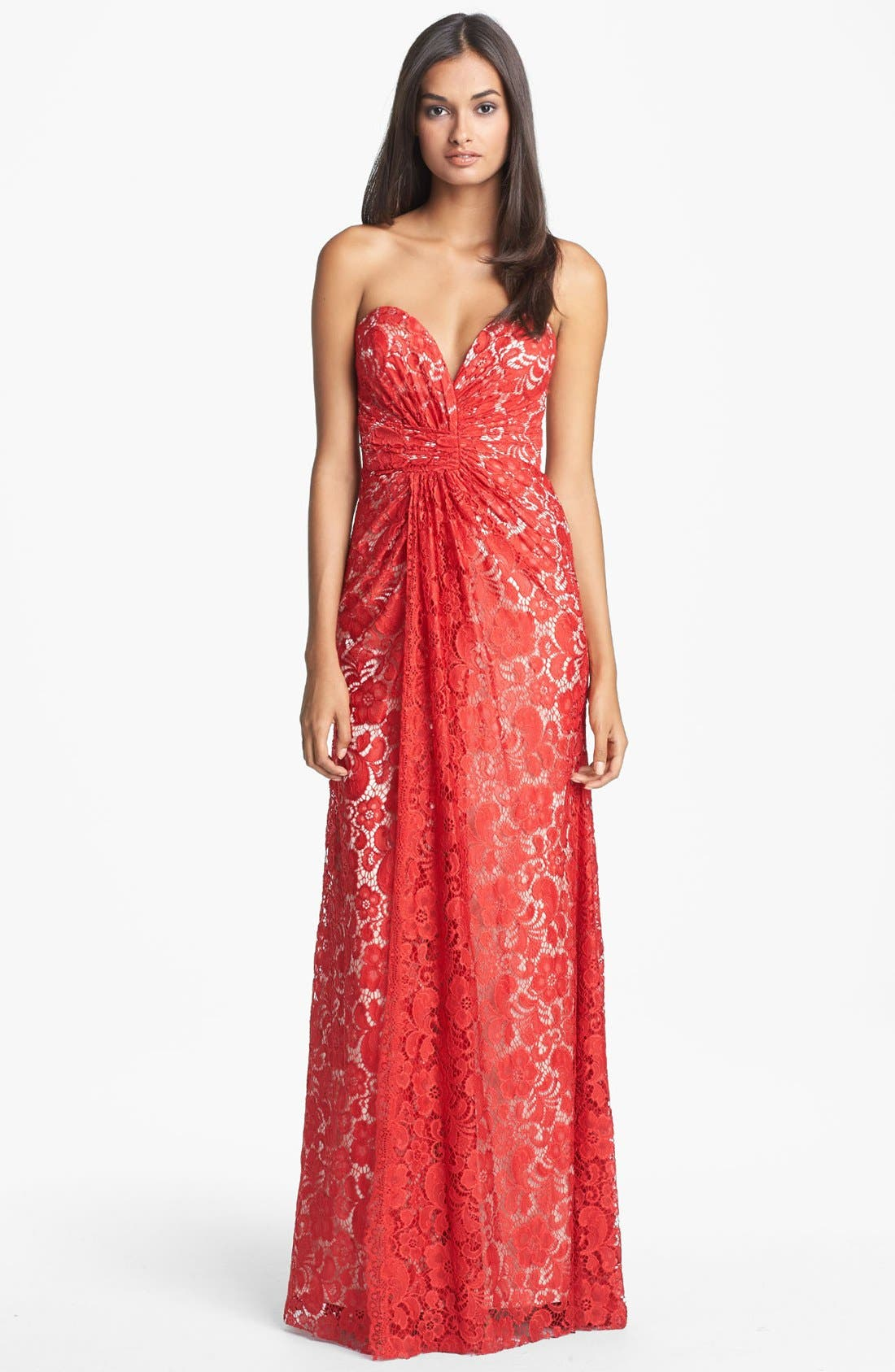 Alternate Image 1 Selected - Dalia MacPhee Strapless Ruched Lace Gown