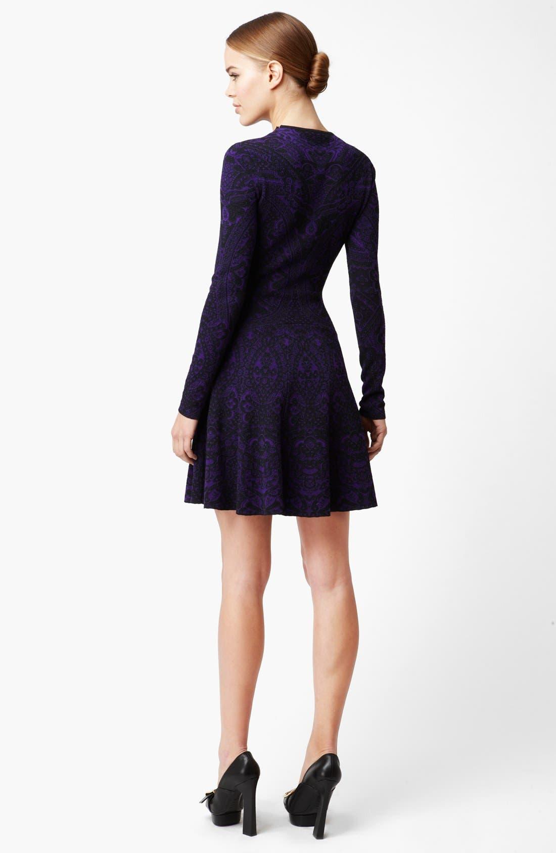 Alternate Image 2  - Alexander McQueen Full Skirt Intarsia Knit Dress