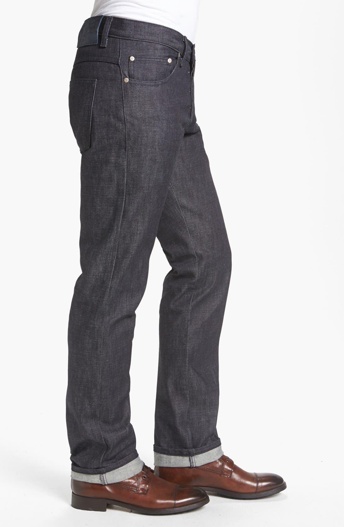 Alternate Image 3  - Naked & Famous Denim 'Slim Guy' Straight Leg Raw Jeans (Natural Denim) (Online Only)