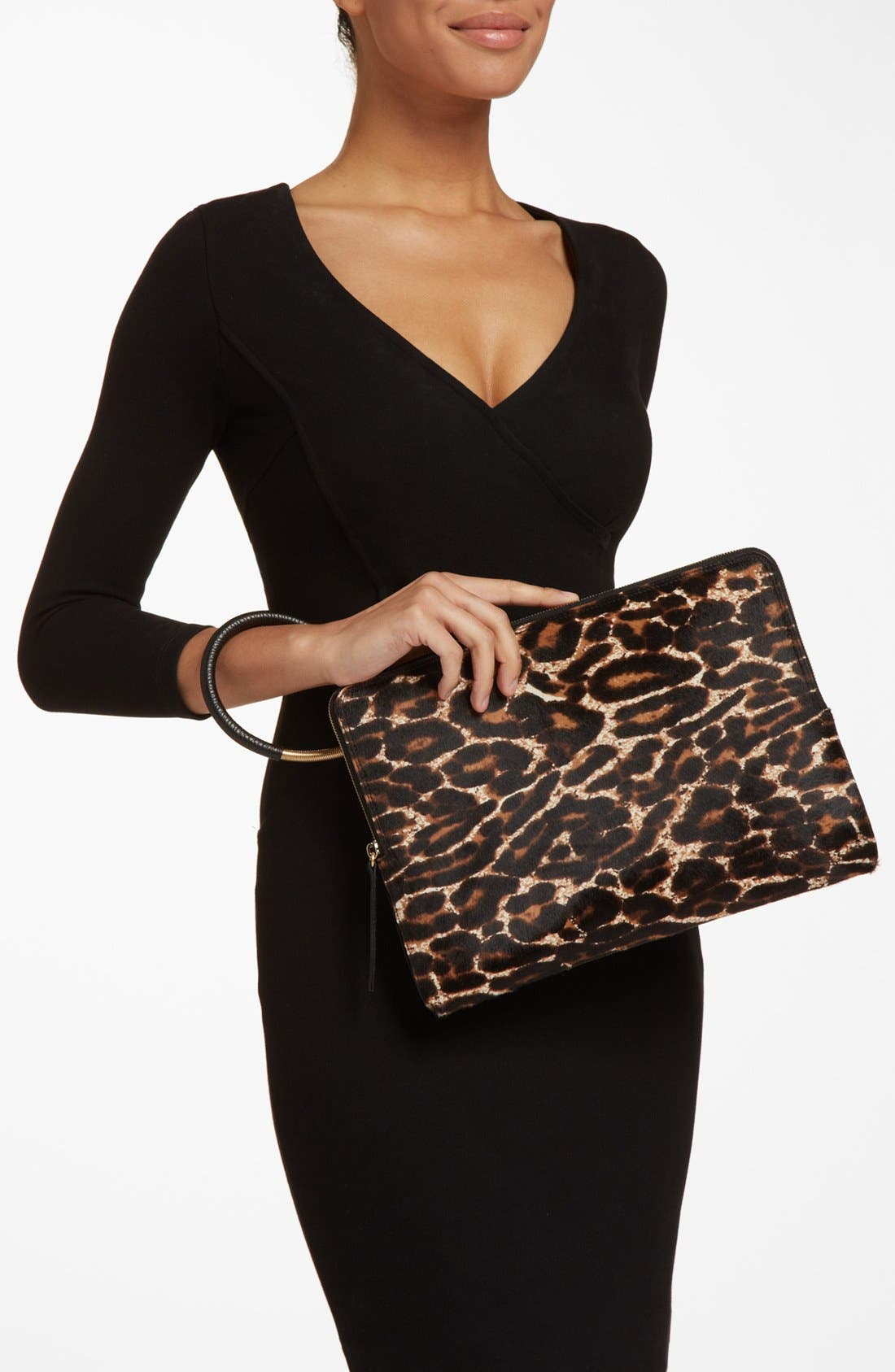 Alternate Image 2  - Lanvin 'Oversize' Leopard Print Calf Hair Clutch