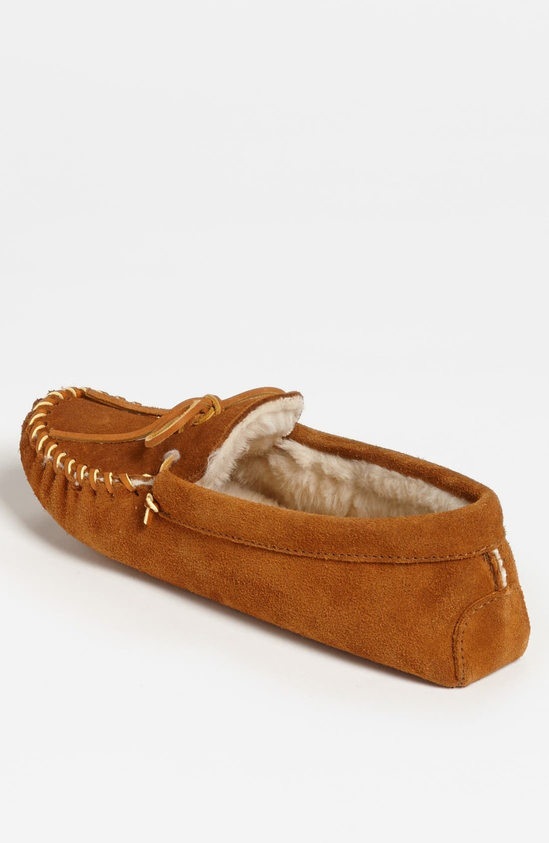Alternate Image 2  - Minnetonka Suede Moccasin with Faux Fur Lining (Men)