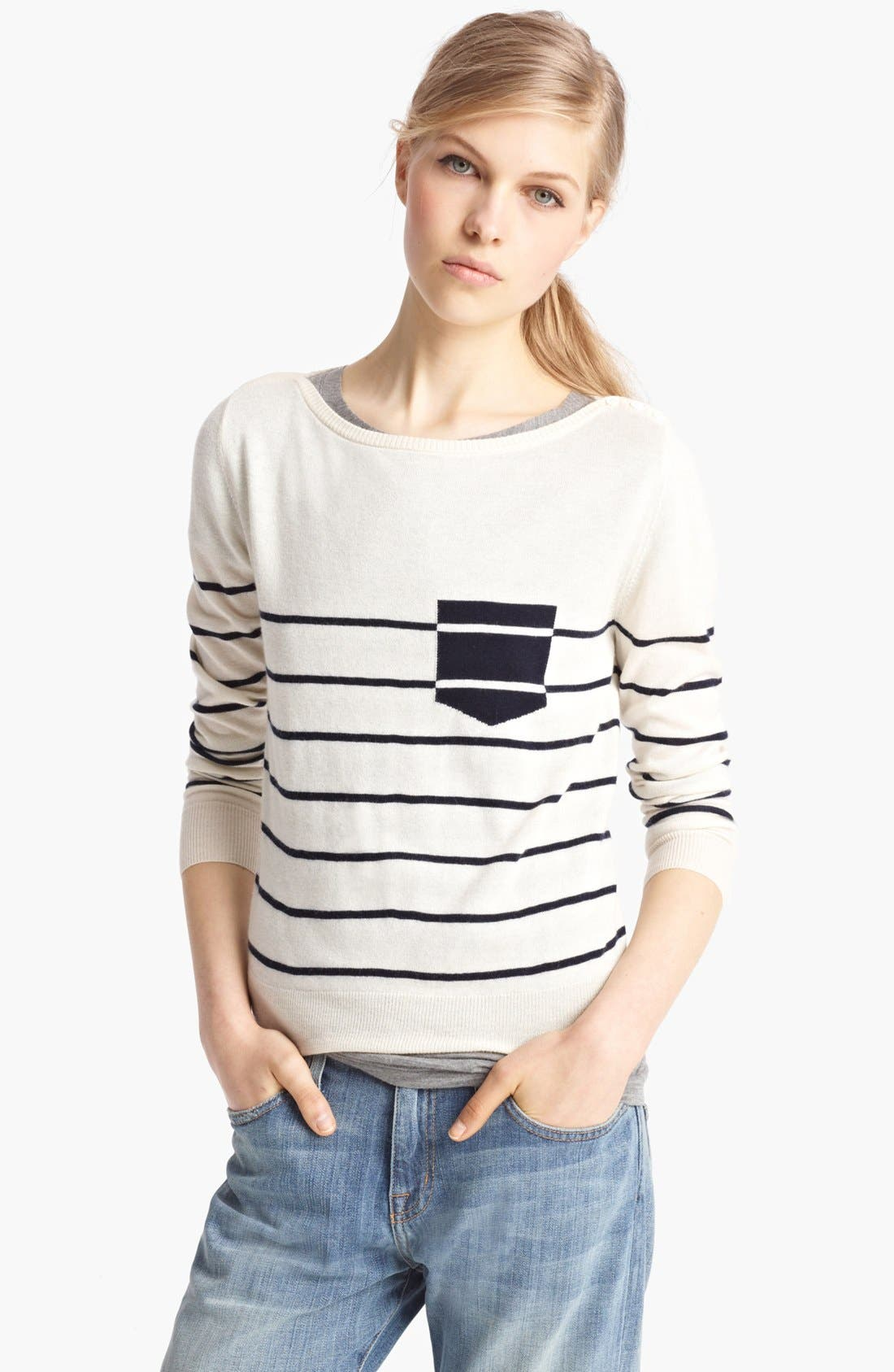 Alternate Image 1 Selected - Band of Outsiders Contrast Pocket Sweater