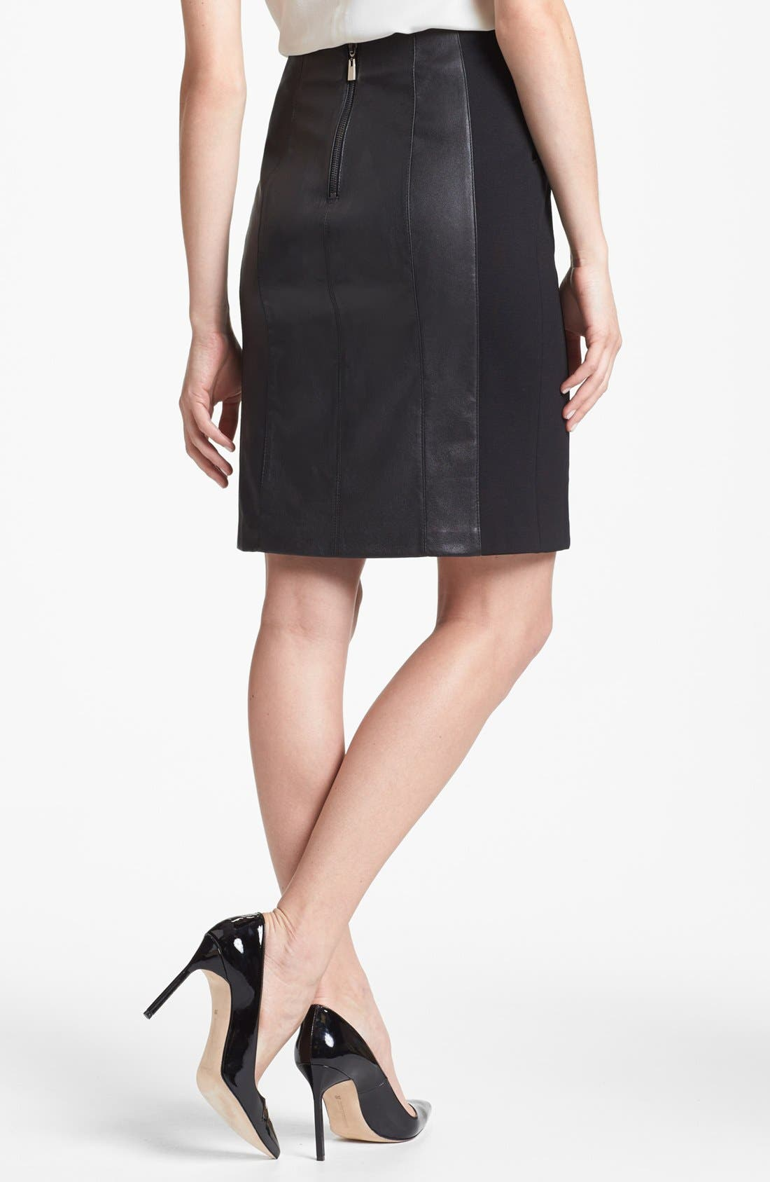 Alternate Image 2  - Nanette Lepore 'Mime' Leather & Knit Skirt