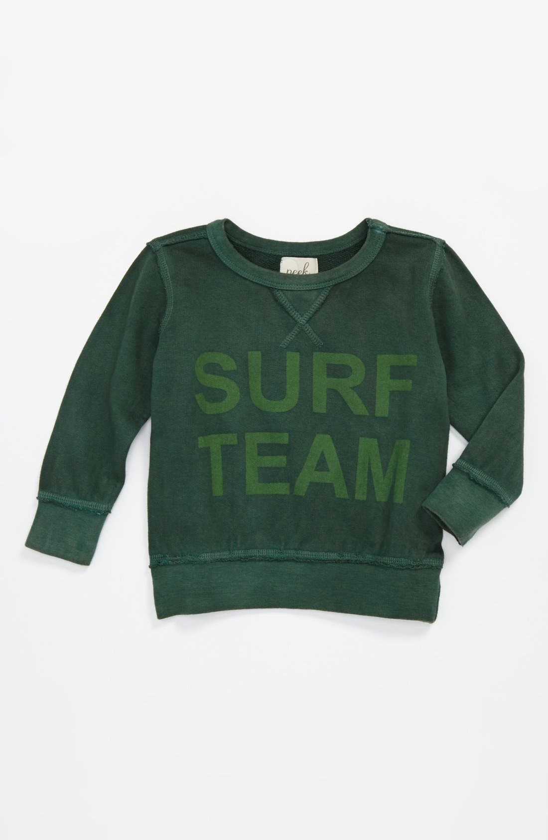 Alternate Image 1 Selected - Peek 'Surf Team' Sweatshirt (Baby Boys)