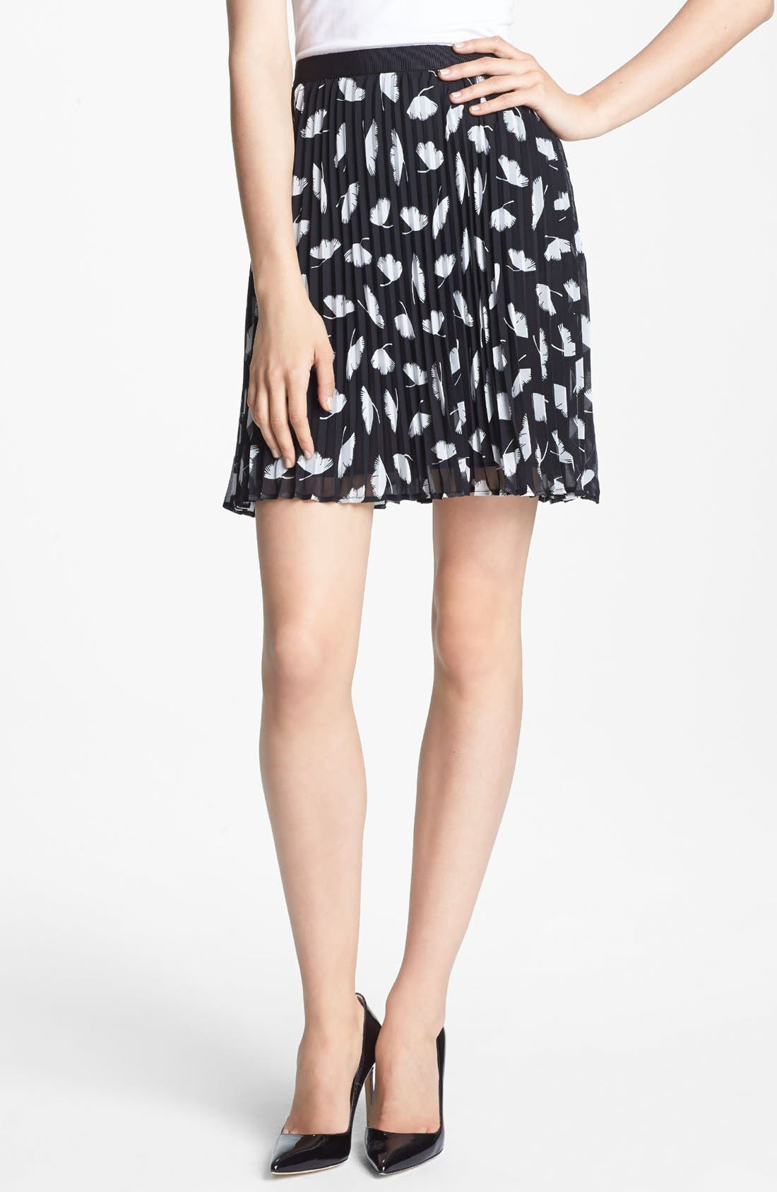 Main Image - Miss Wu 'Delicate Leaf' Print Chiffon Skirt (Nordstrom Exclusive)