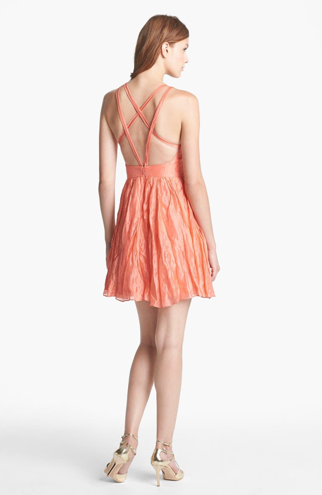 Alternate Image 2  - Nicole Miller Metallic Silk Fit & Flare Dress