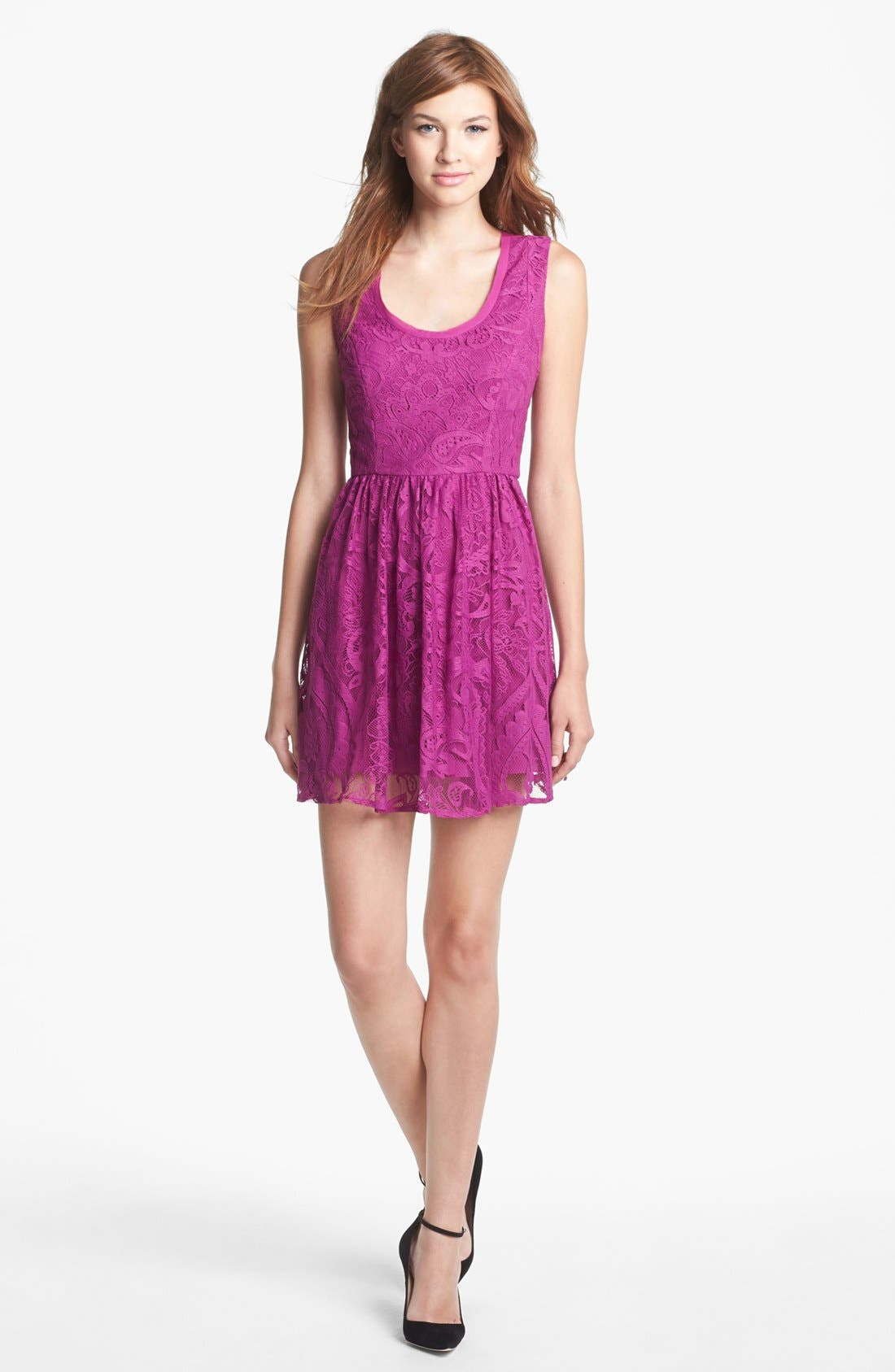 Main Image - Nicole Miller Lace Fit & Flare Dress