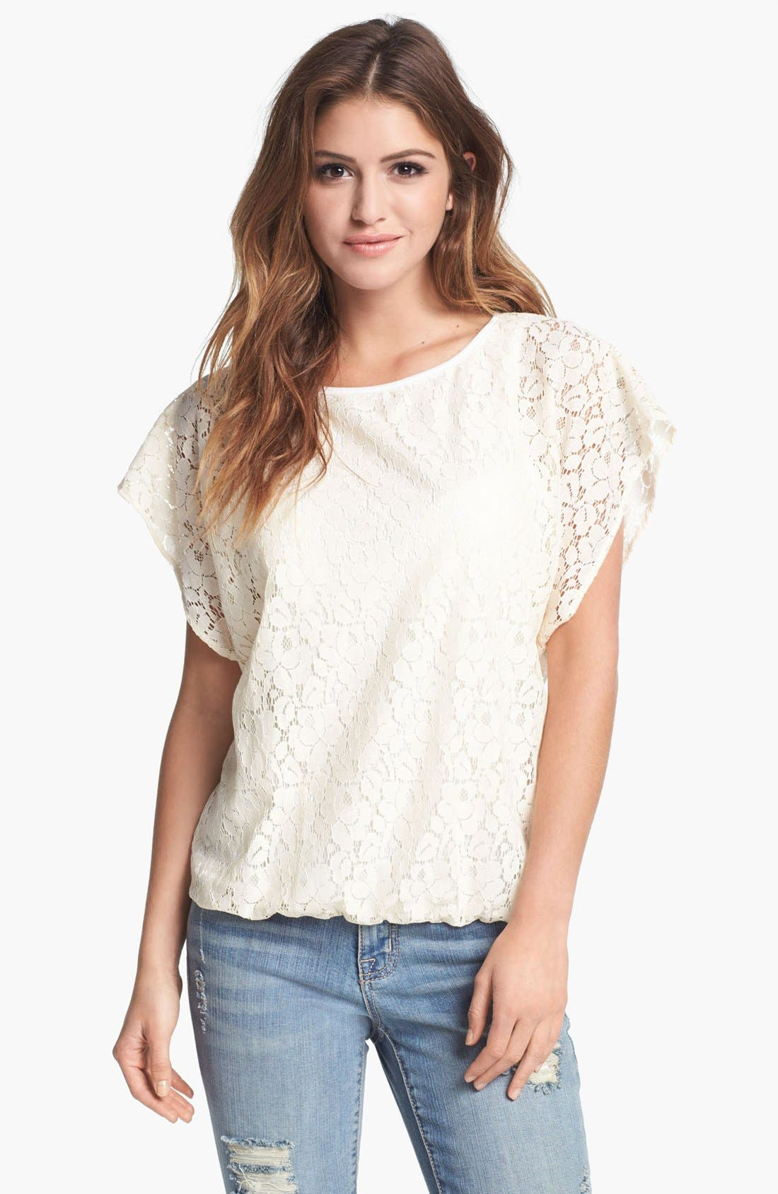 Alternate Image 1 Selected - Bobeau Lace Bubble Top