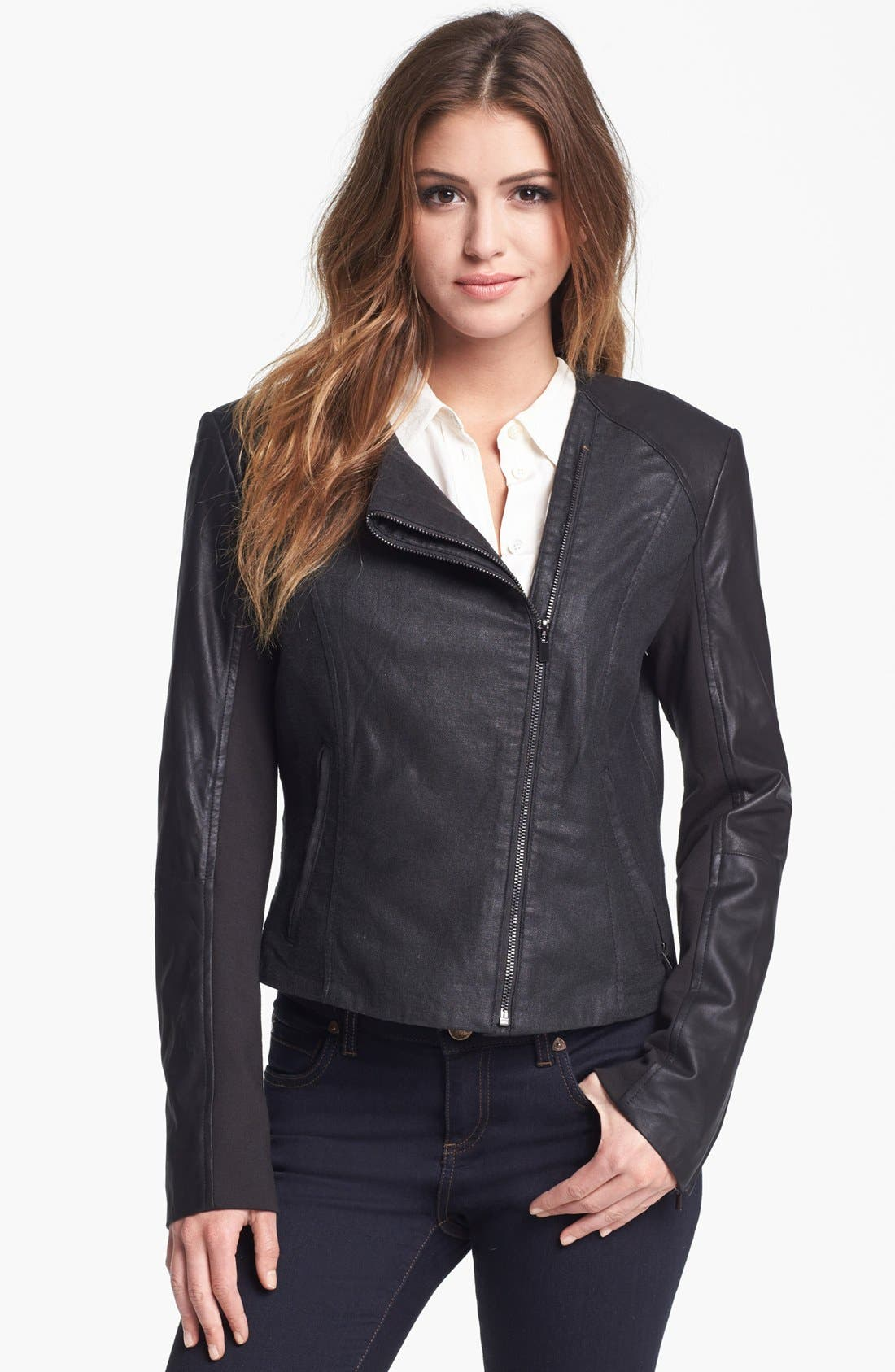 Alternate Image 1 Selected - LaMarque Coated Moto Jacket with Leather Sleeves