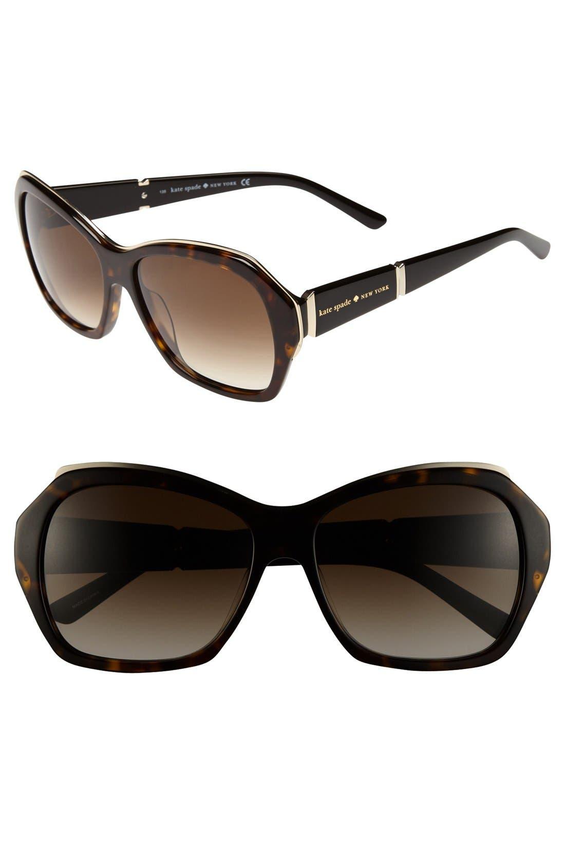 Main Image - kate spade new york 'gianna' 57mm oversized sunglasses