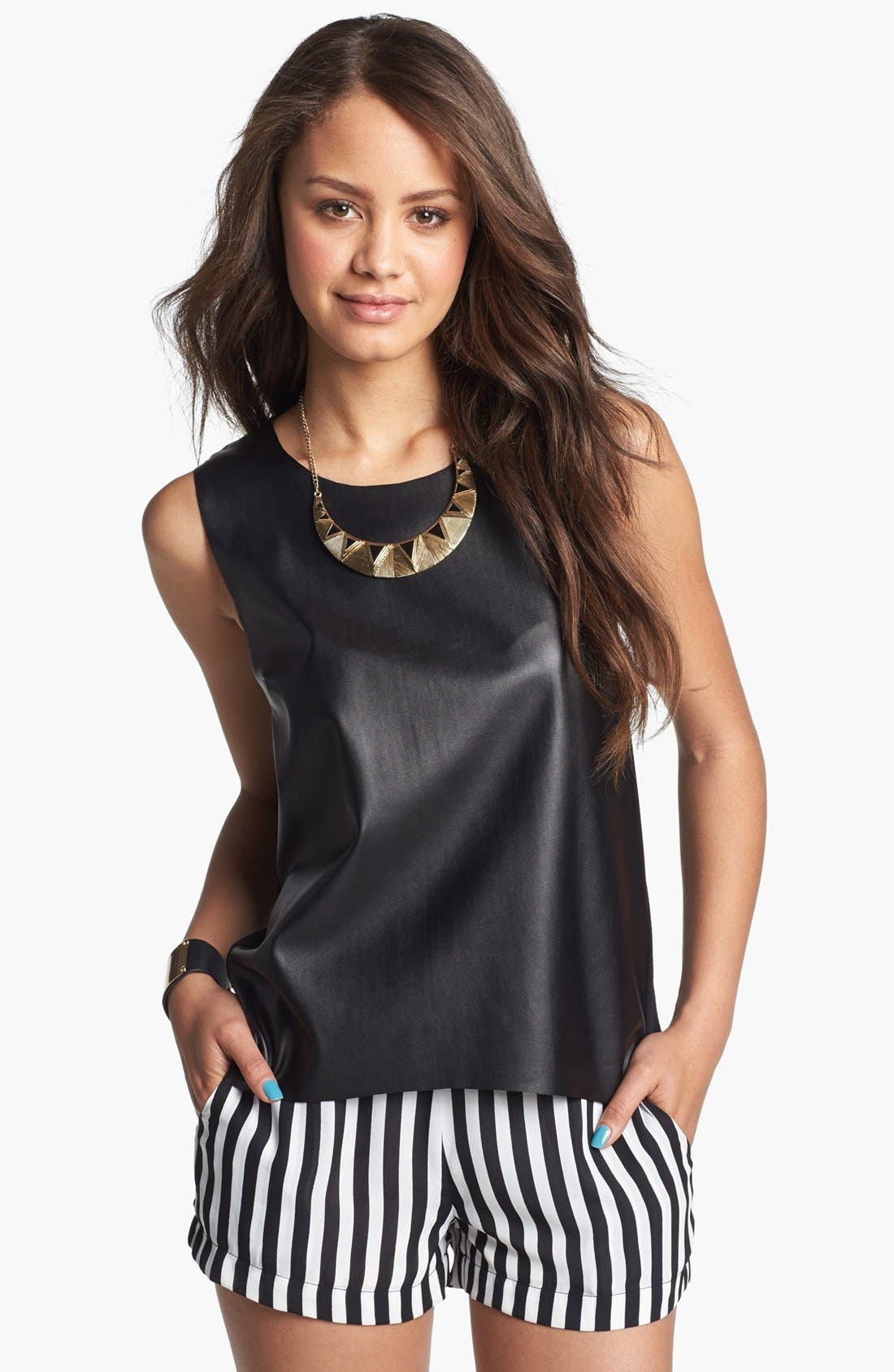 Alternate Image 1  - Soprano Faux Leather Front Tank (Juniors)