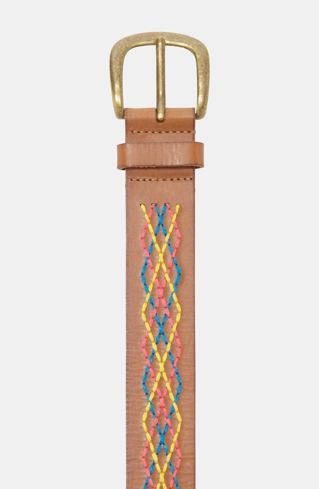 Alternate Image 2  - Fossil Embroidered Leather Belt
