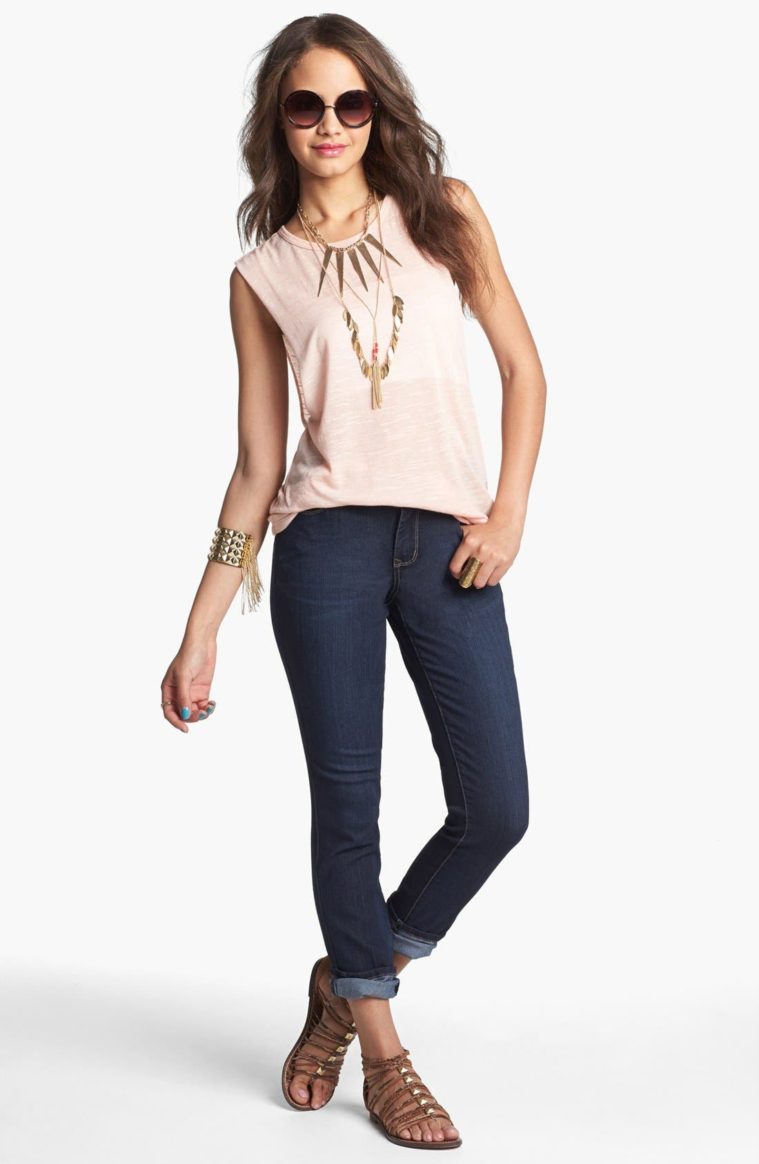 Alternate Image 2  - Painted Threads Tank & Jolt Skinny Jeans