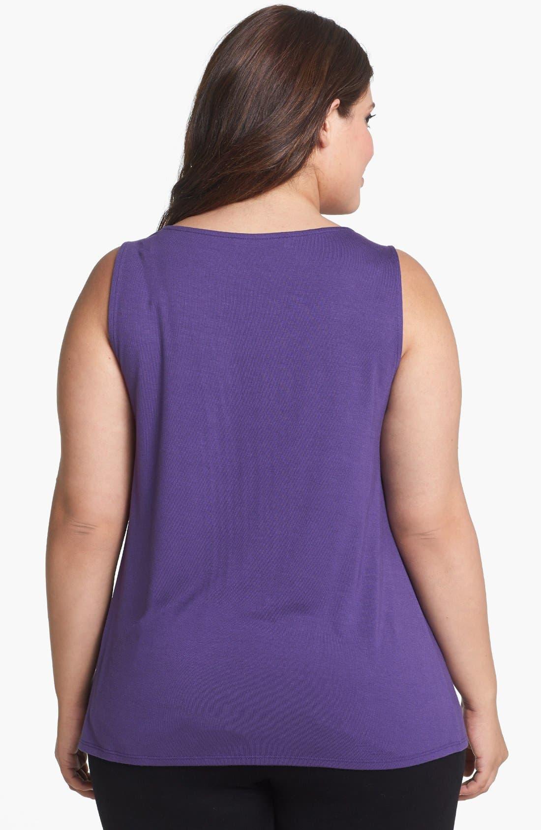 Alternate Image 2  - Sejour Sleeveless Jersey Top (Plus Size)