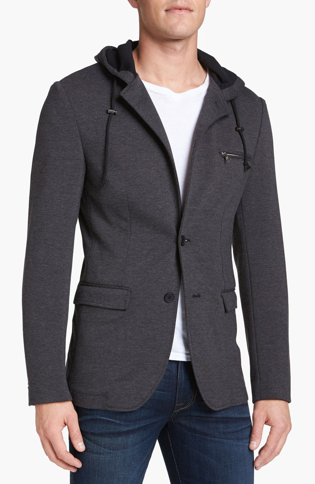 Main Image - Threads for Thought Jersey Knit Hooded Blazer